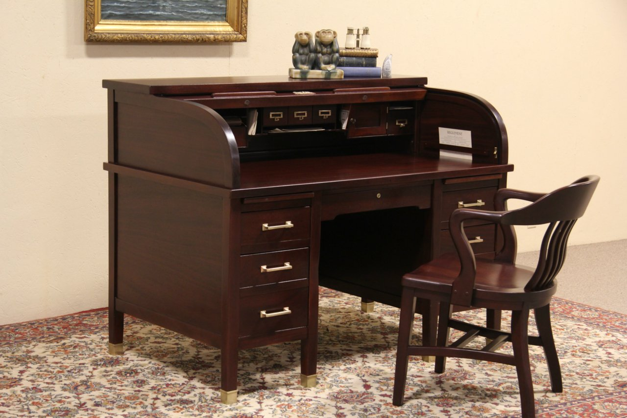 SOLD - Clemco Chicago Arts & Crafts Antique 1910 Mahogany Roll Top Desk -  Harp Gallery - SOLD - Clemco Chicago Arts & Crafts Antique 1910 Mahogany Roll Top