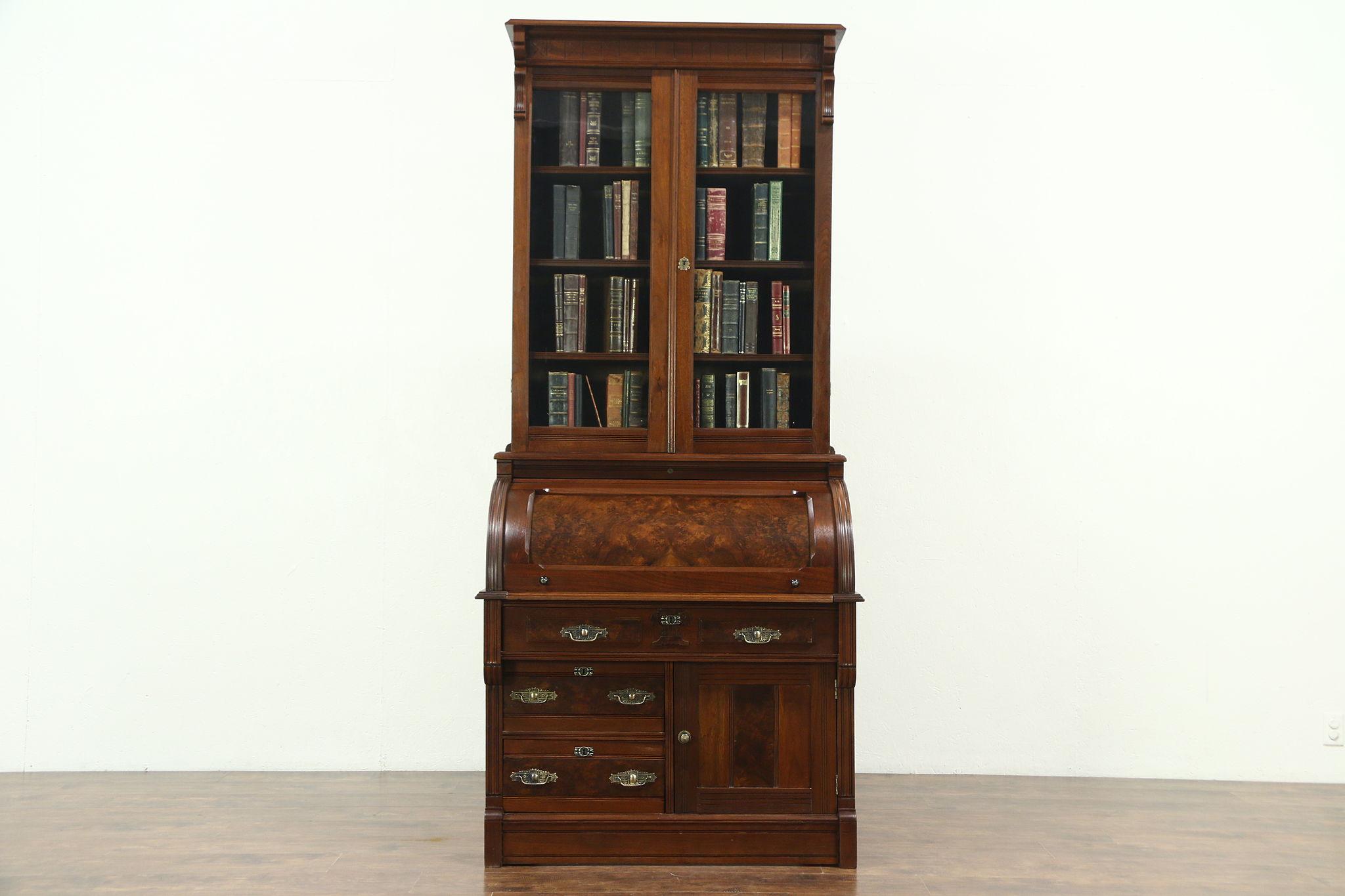 Victorian Eastlake Antique Cylinder Roll Top Secretary Desk Bookcase