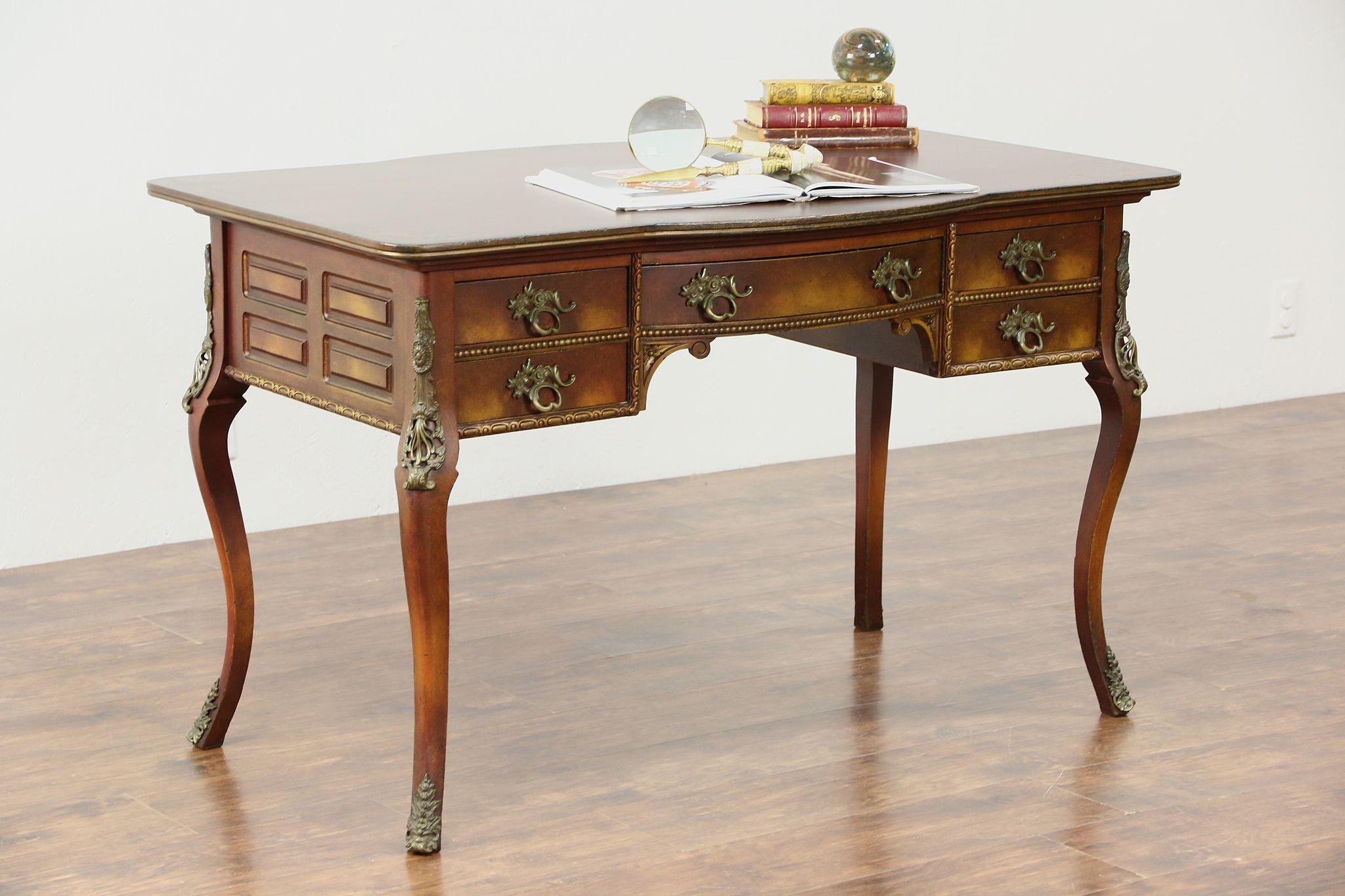Hand Painted Antique 1900 Lady Writing Desk, Original Brass Mounts ...