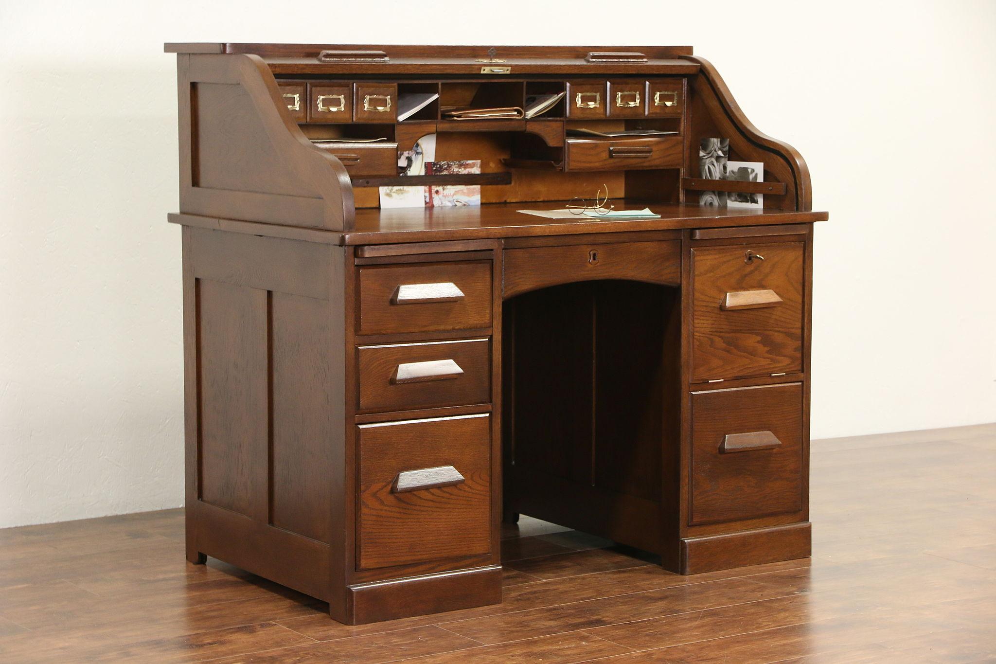 Oak 1900 Antique S Curve Roll Top Desk Locking File Compartment