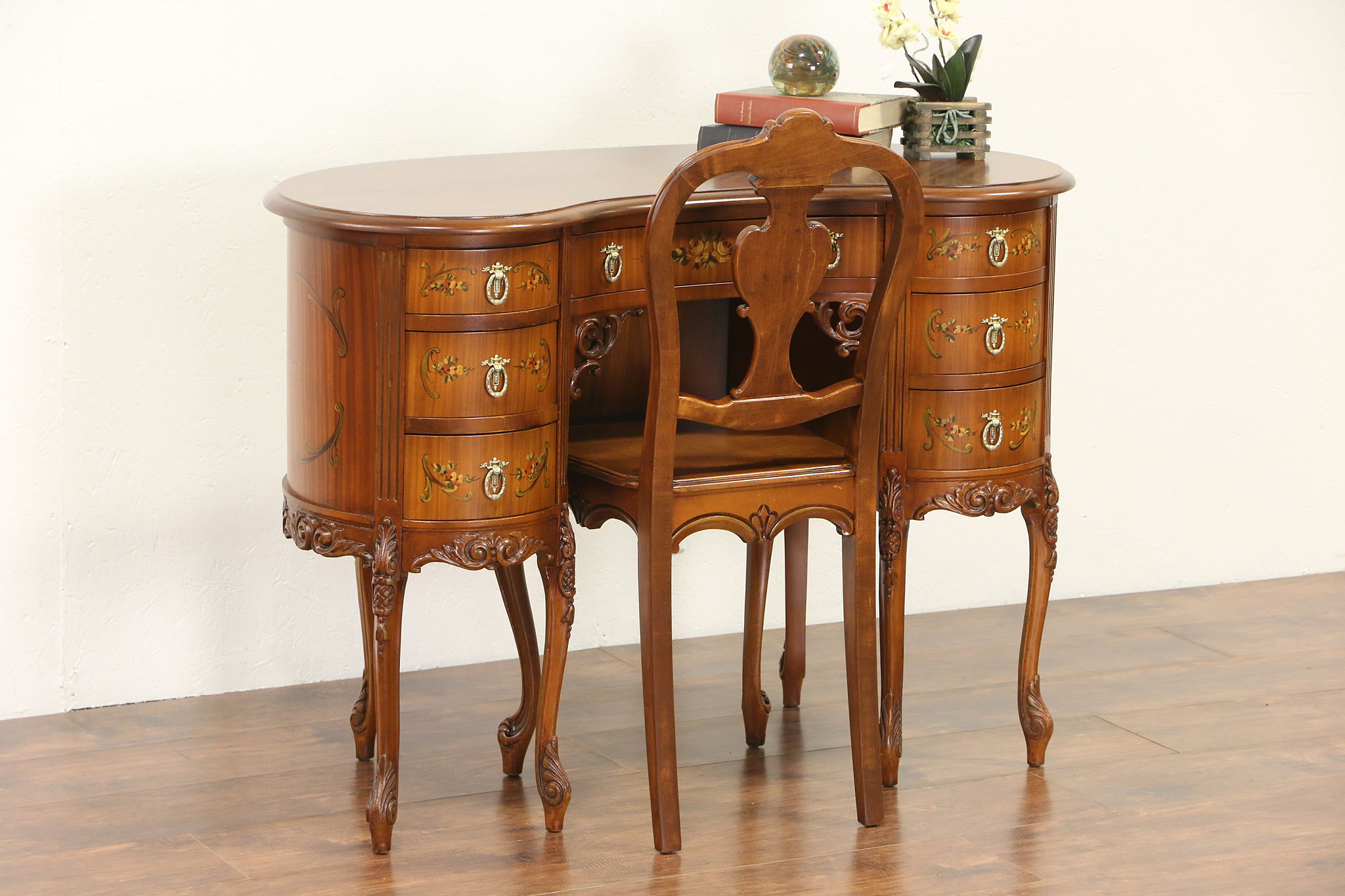 Hand Painted Satinwood 1925 Kidney Shape Desk Chair Set