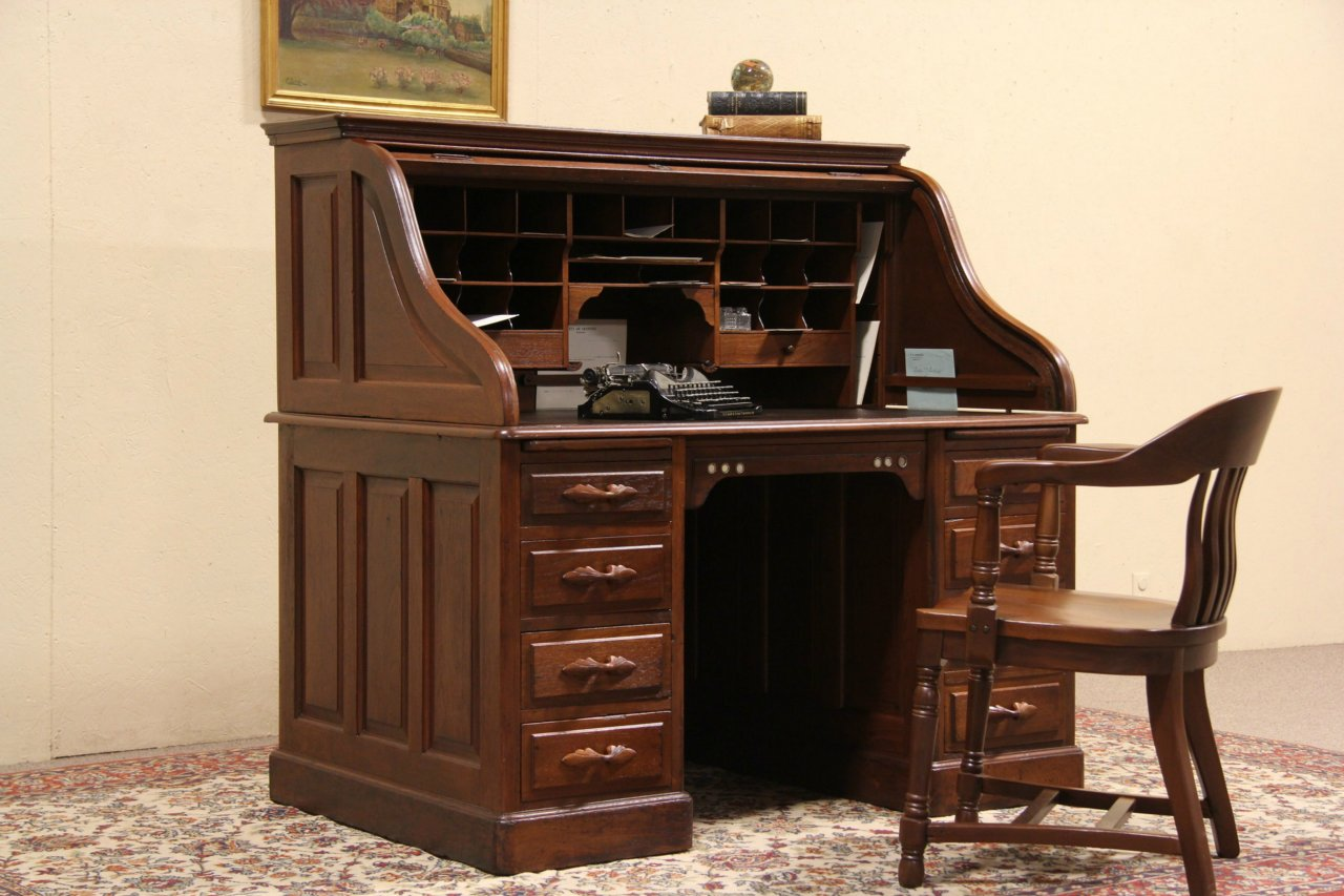 photo 1 Sellew NY 1890's Antique Walnut Rolltop Desk ... - SOLD - Sellew NY 1890's Antique Walnut Rolltop Desk, Raised Panels