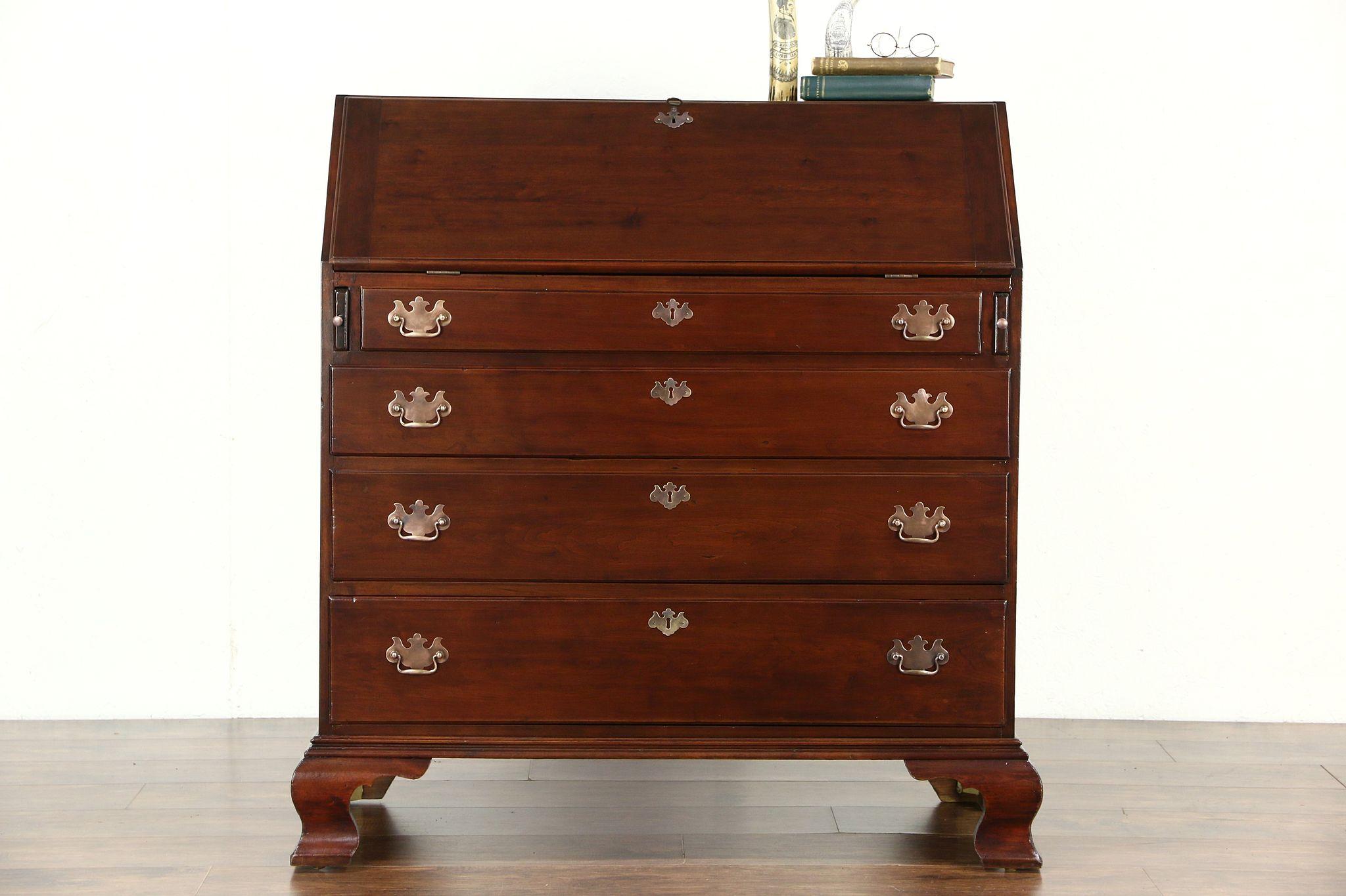 Bon Cherry 1820u0027s Antique Federal Period Hand Made Secretary Desk