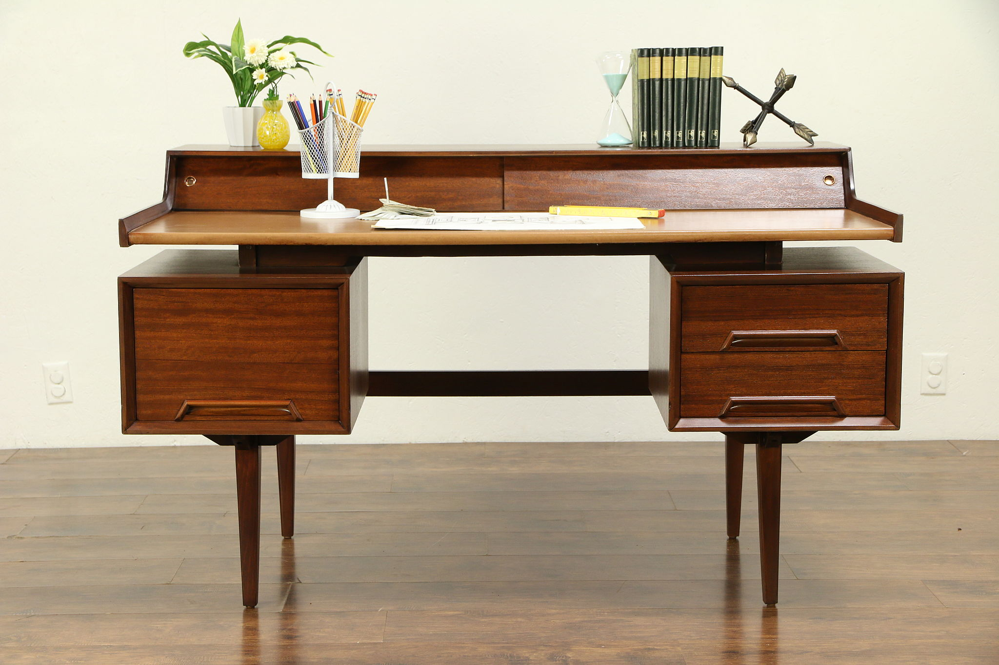 Sold Midcentury Modern Vintage Mahogany Desk Milo Baughman Perspective Drexel 30702 Harp Gallery Antiques Furniture