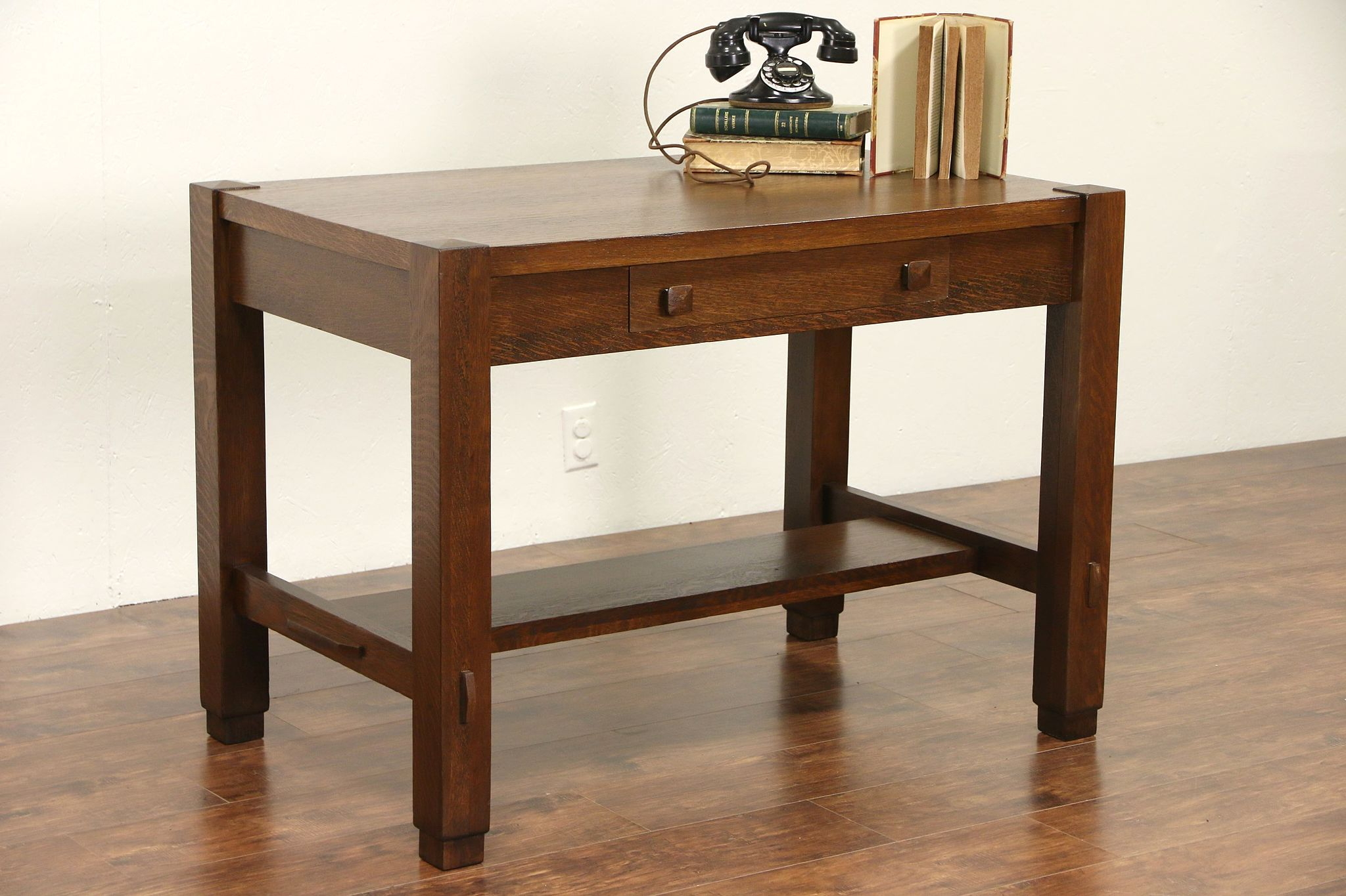 Arts Crafts Mission Oak 1905 Antique Cadillac Desk Library Table