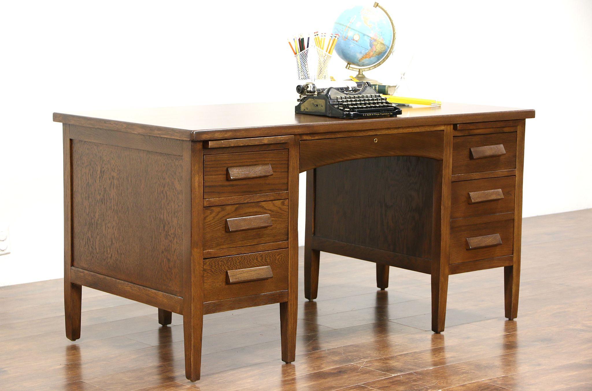 Sold Oak 1930 S Vintage Desk File Drawer 2 Pull Out Shelves Harp Gallery Antiques Furniture