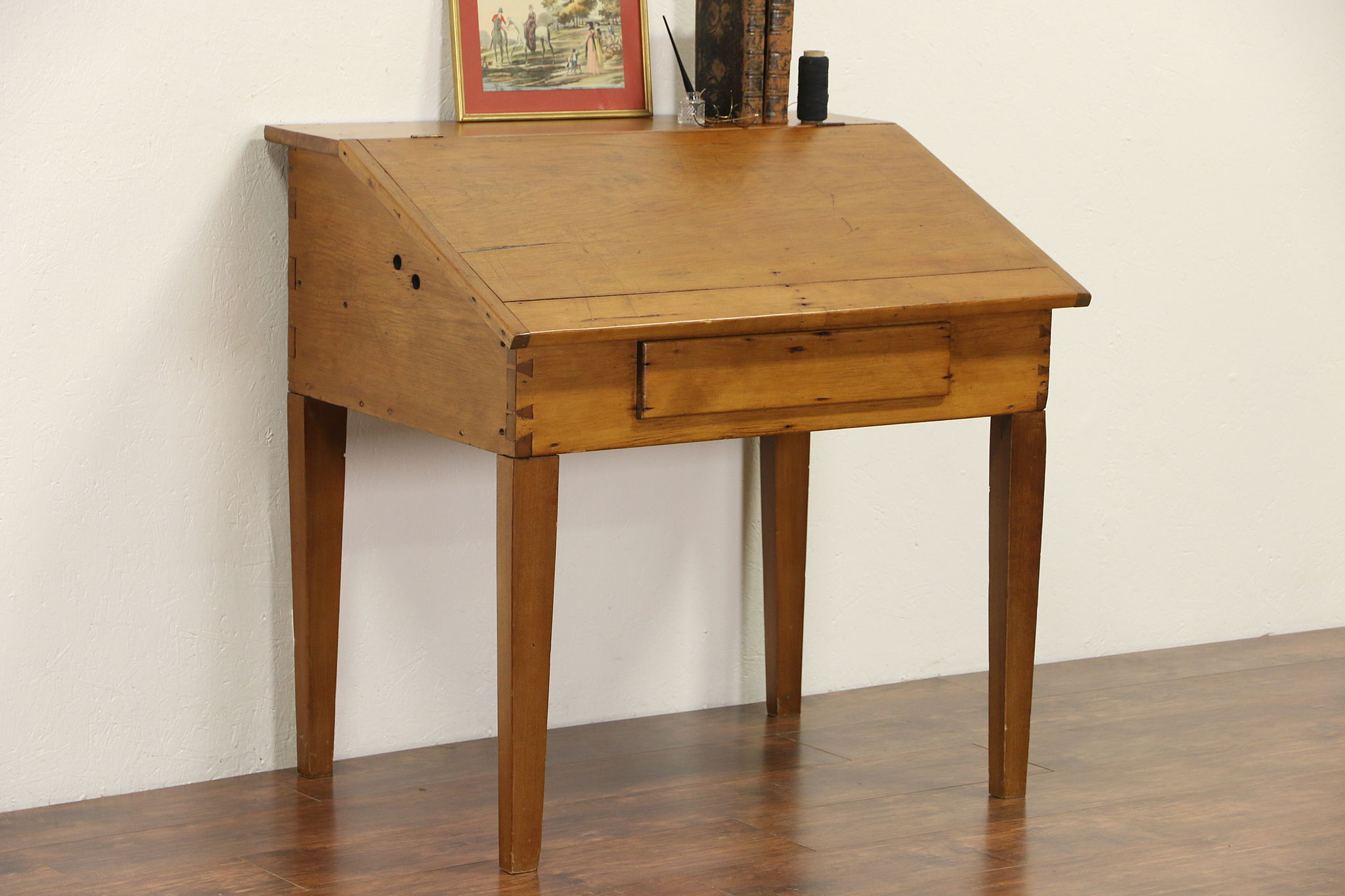 Lovely Country Pine 1860u0027s Missouri Primitive Schoolmaster Desk