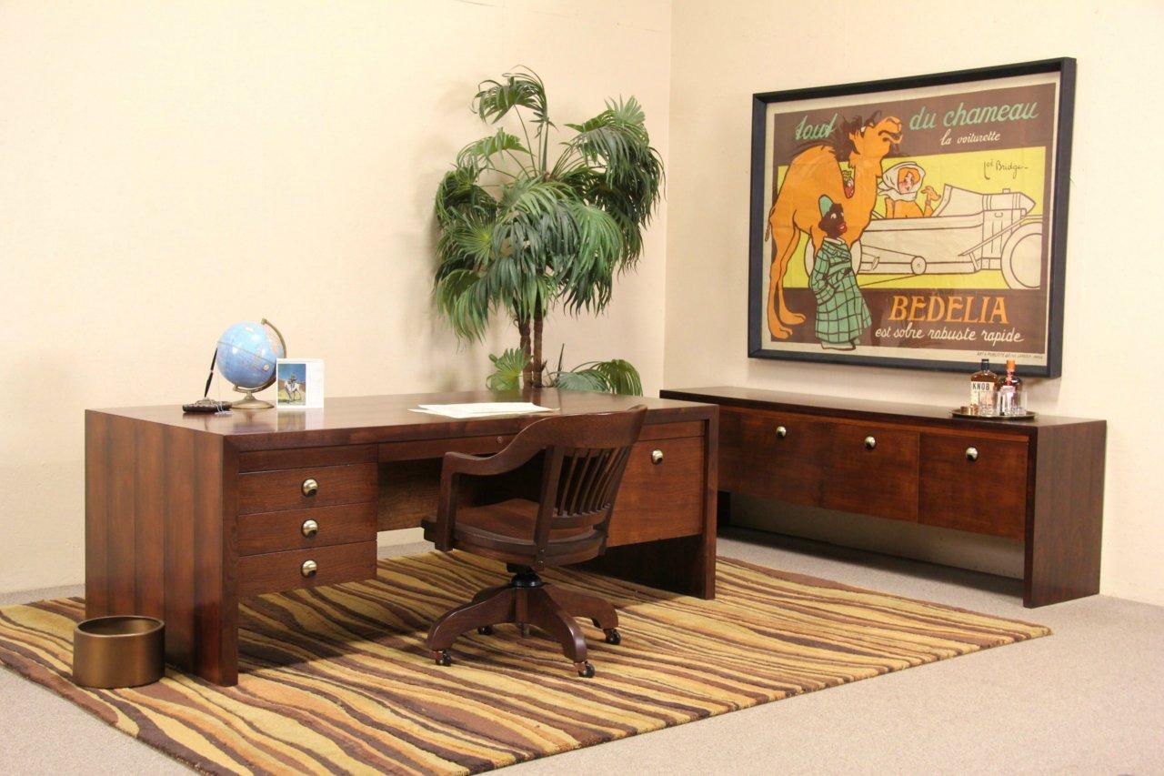 Dunbar Midcentury Modern Rosewood Executive Desk Credenza Set 1960 S Vintage