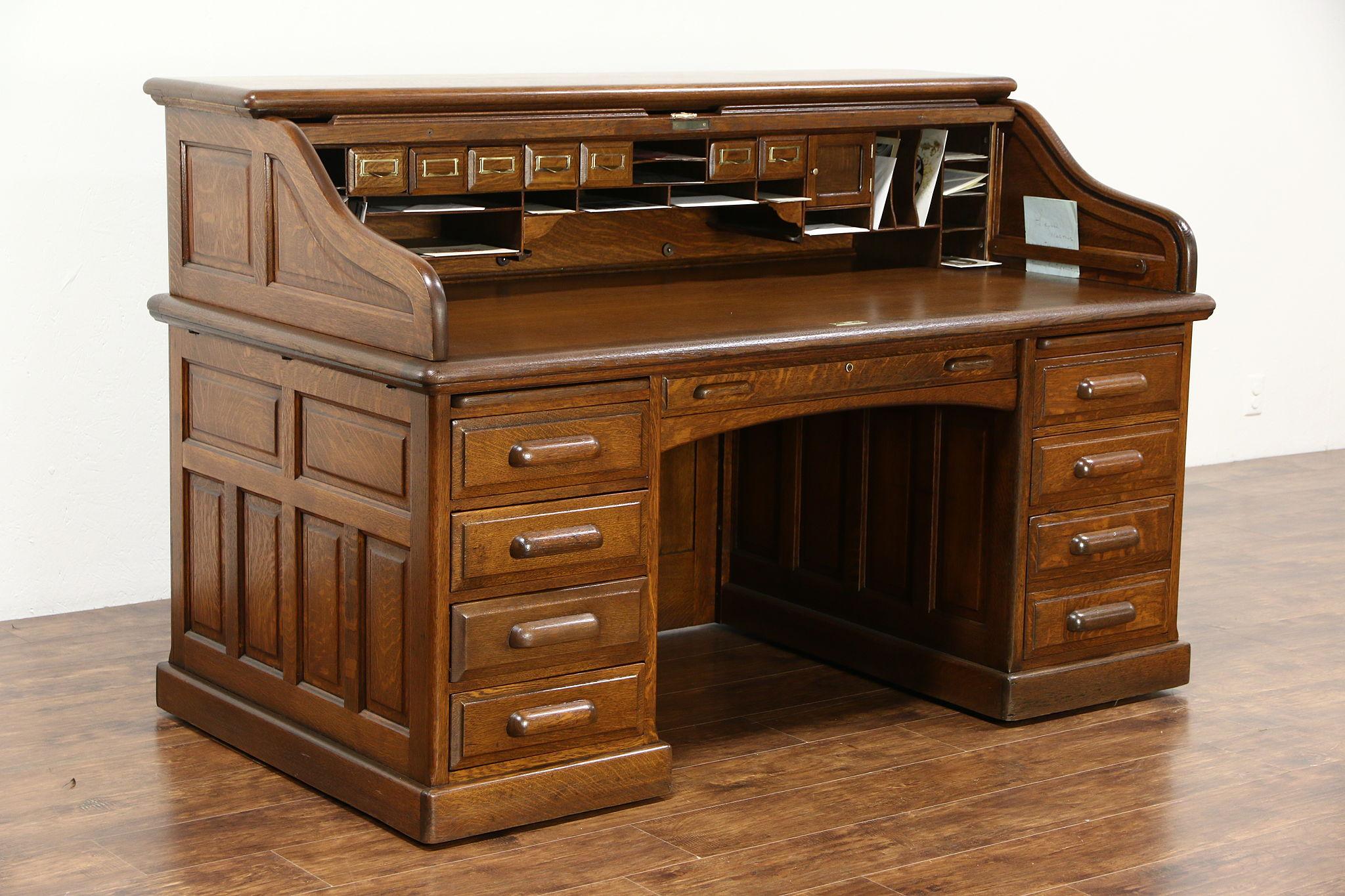 Oak Quarter Sawn Antique 1895 Roll Top Desk Raised Panels