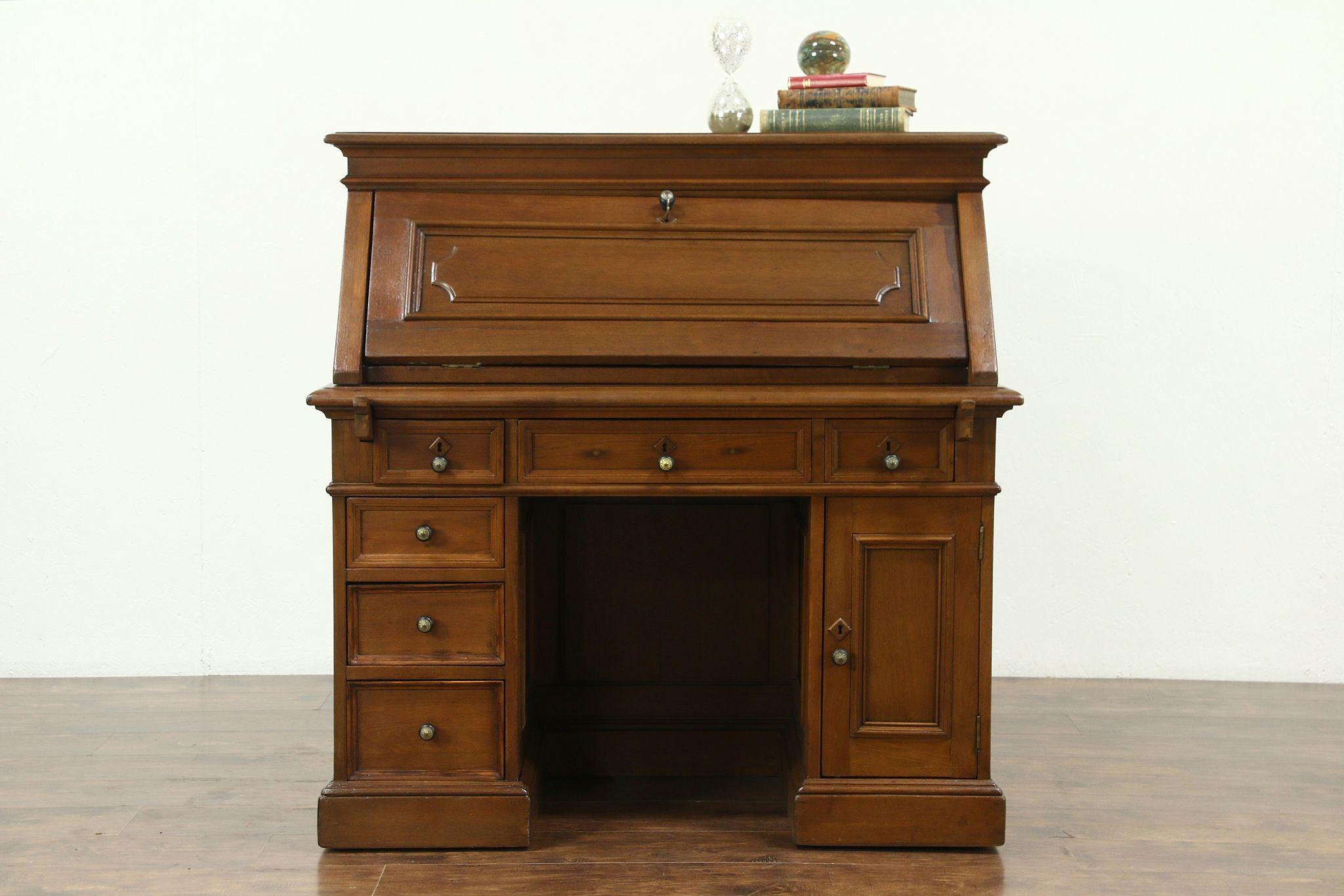 Victorian Antique 1860 S Walnut Library Desk Or Dropfront Secretary 28660 Harp Gallery
