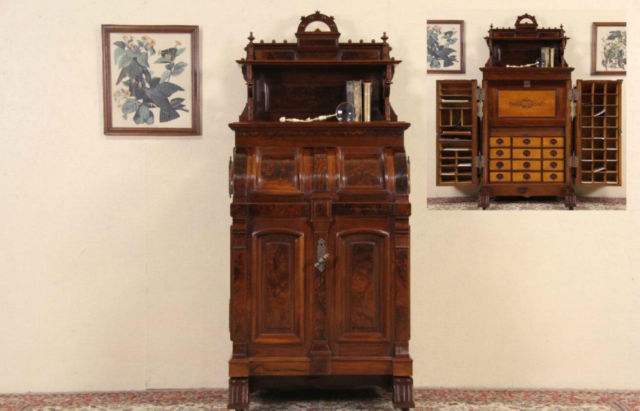 Wooton Signed Victorian 1874 Patent Antique Walnut Desk - SOLD - Wooton Signed Victorian 1874 Patent Antique Walnut Desk