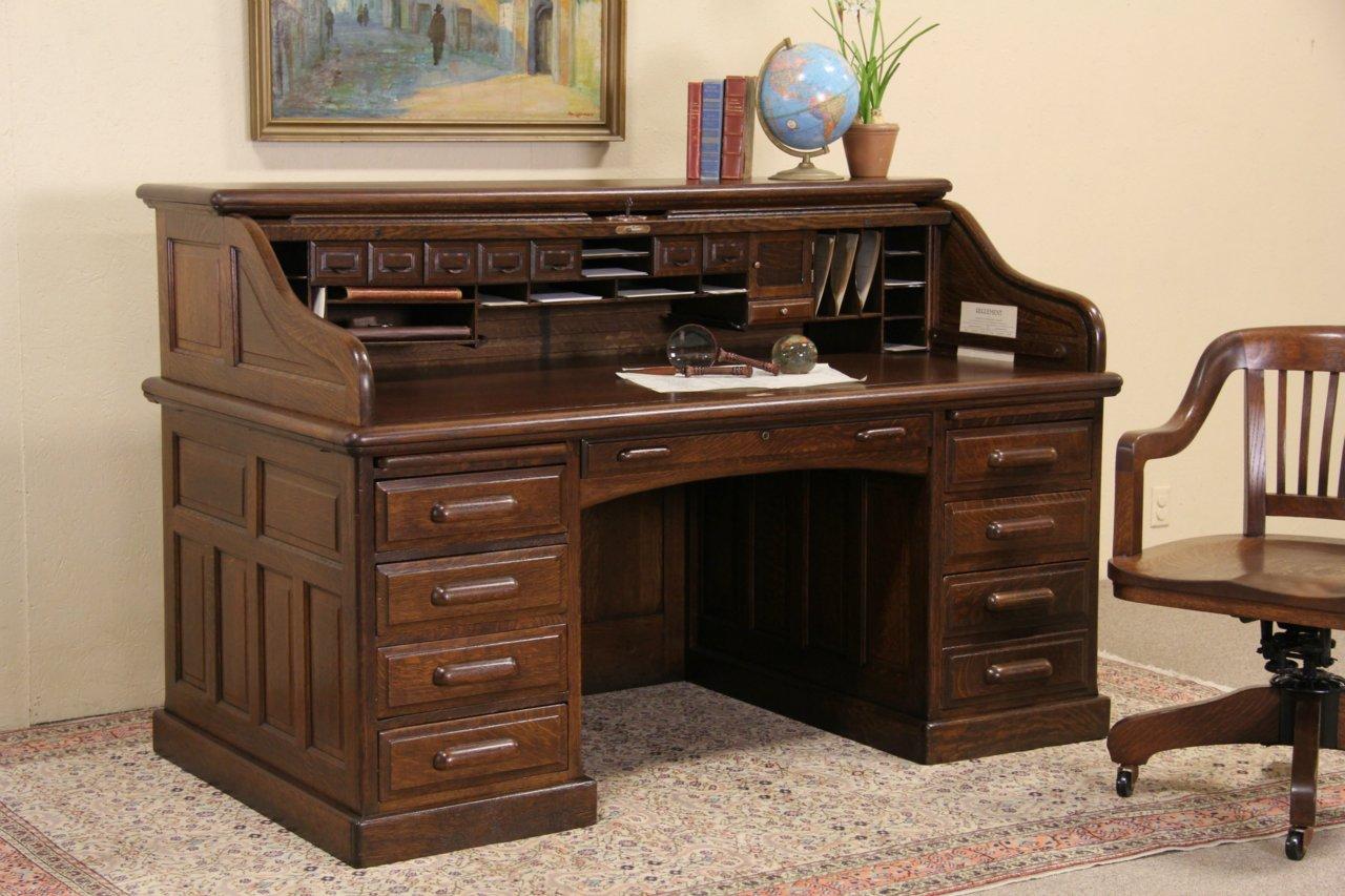 Sold Globe Wernicke Signed Oak 1900 Antique Roll Top
