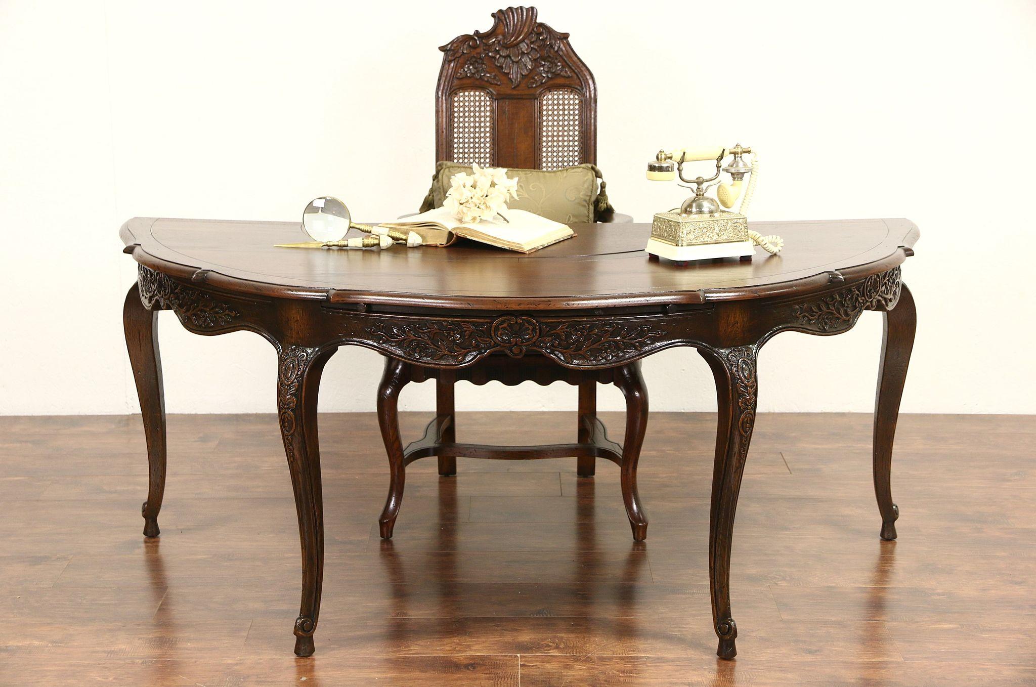 Carved Oak Vintage Half Round Library Desk Chair
