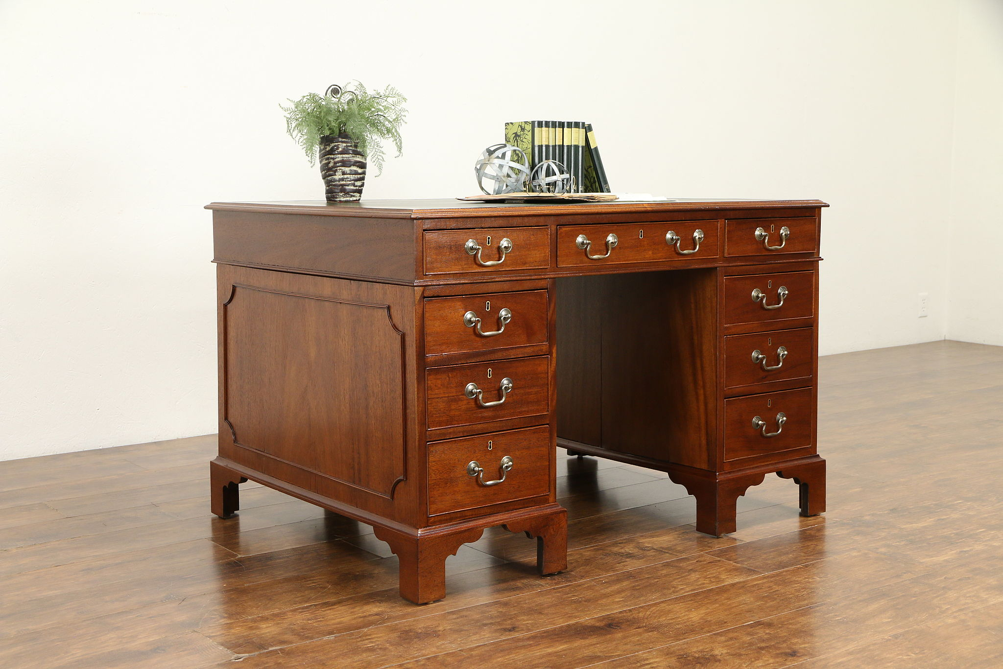 Vintage Mahogany Library Or Office Desk