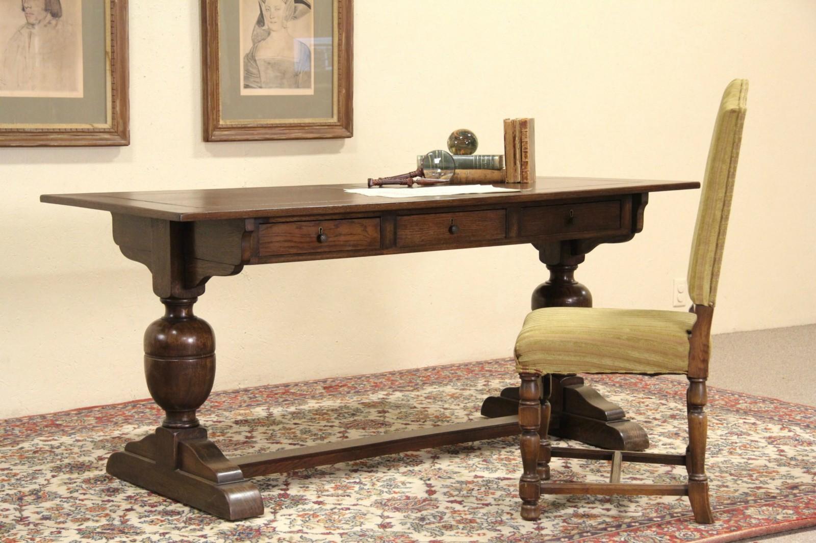 Oak 1910 Antique Danish Renaissance Library Desk Or Writing Table ...