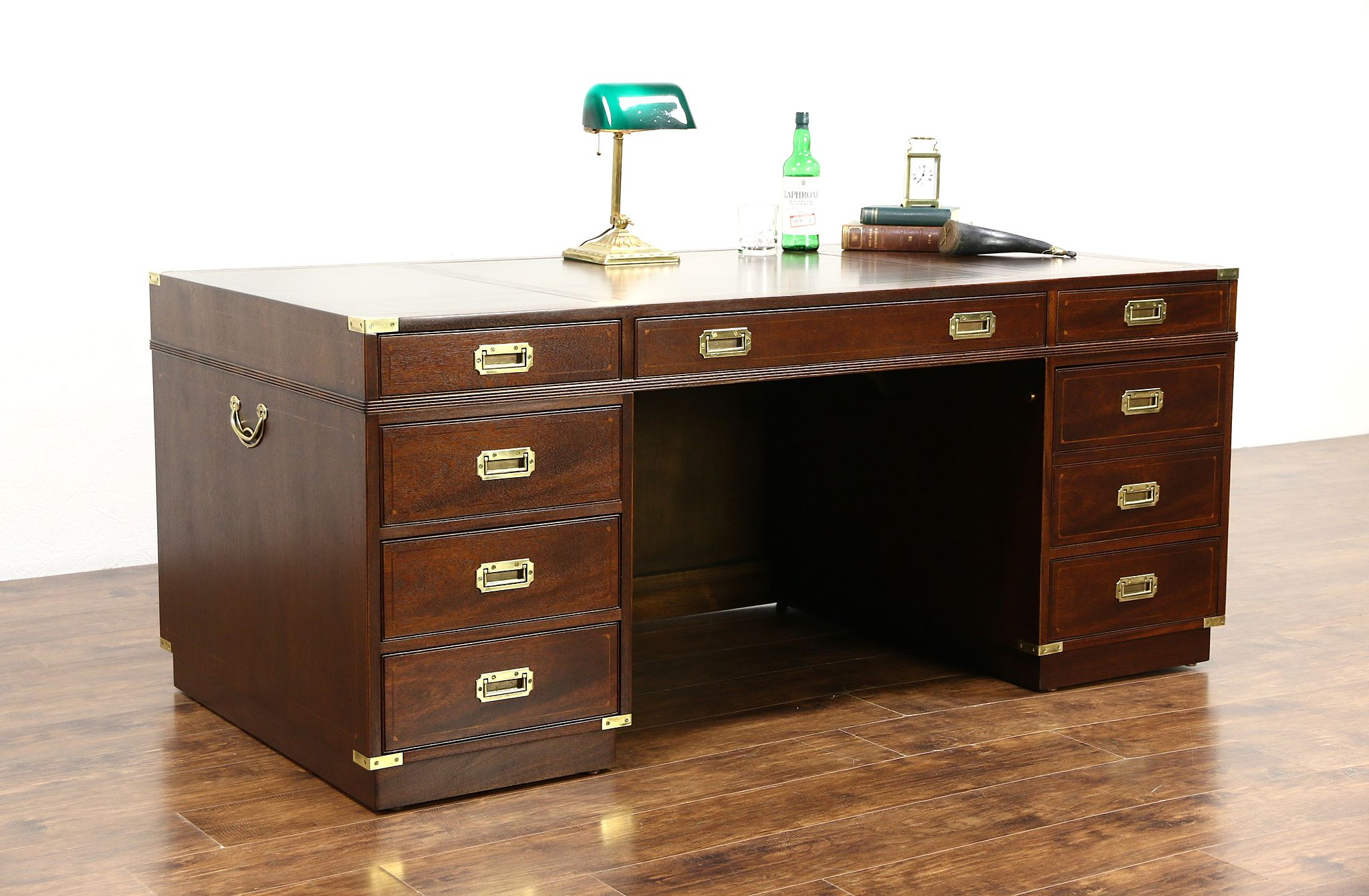 Kittinger Signed Executive Or Library Vintage Campaign Desk Gold Tooled Leather