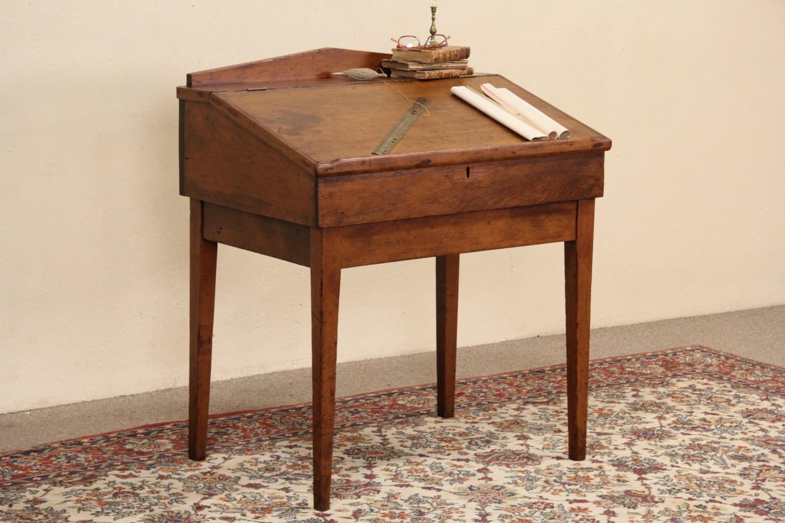 Country Pine 1860 S Antique Slant Top Schoolmaster Desk