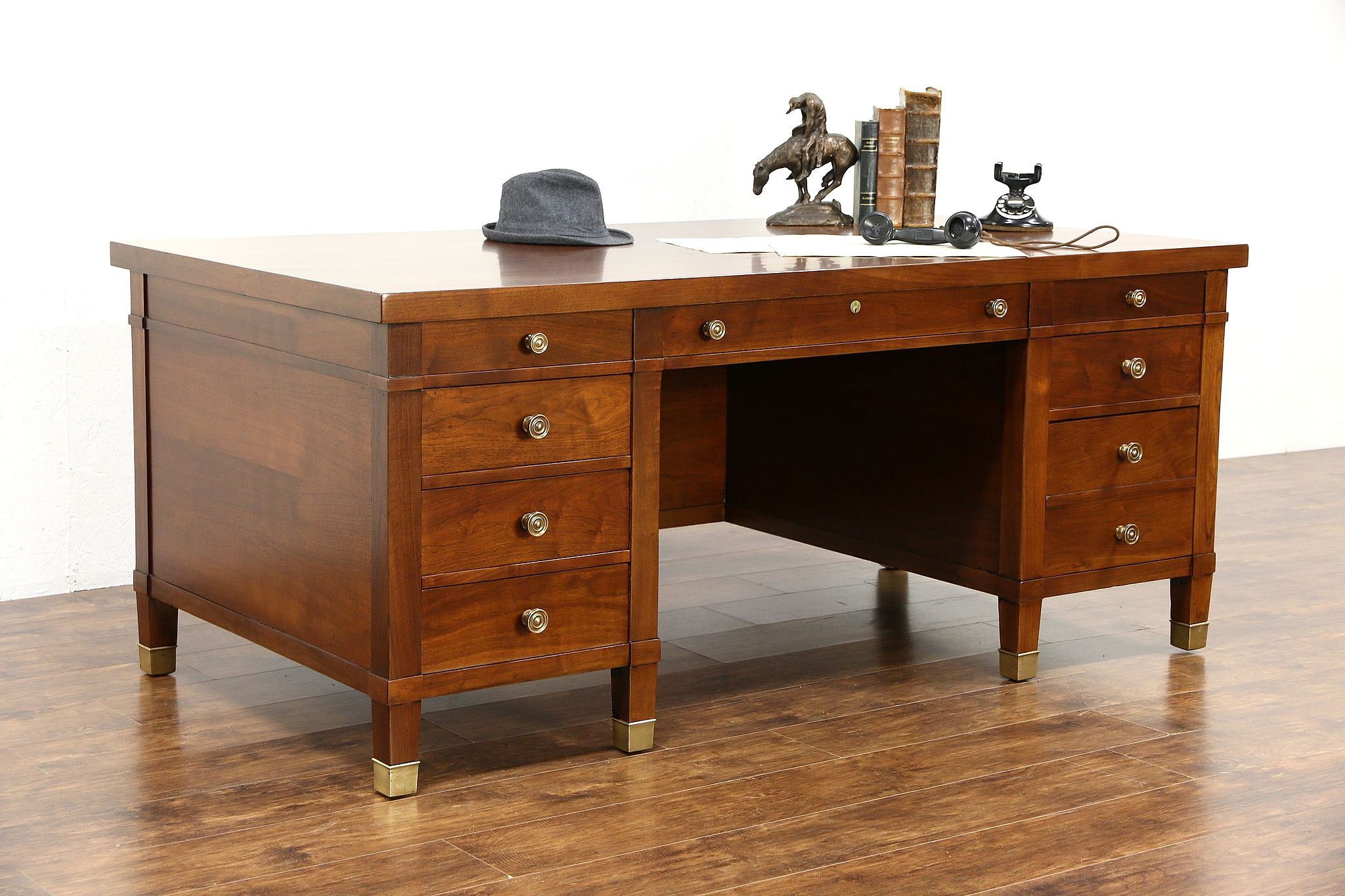 Executive Antique Walnut 6 Library or fice Desk Bronze