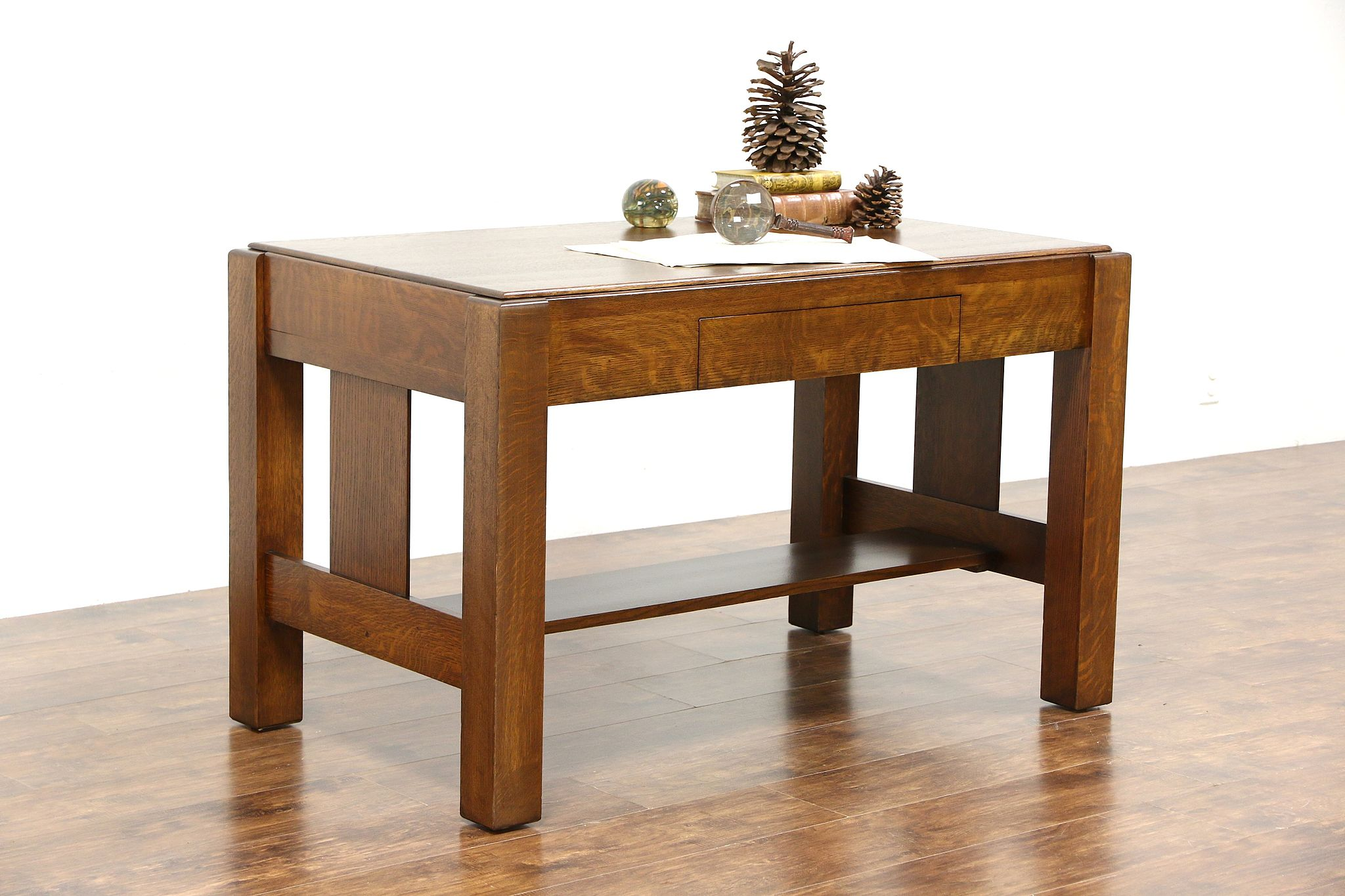 Arts U0026 Crafts Mission Oak Antique 1905 Craftsman Library Table Writing Desk  ...
