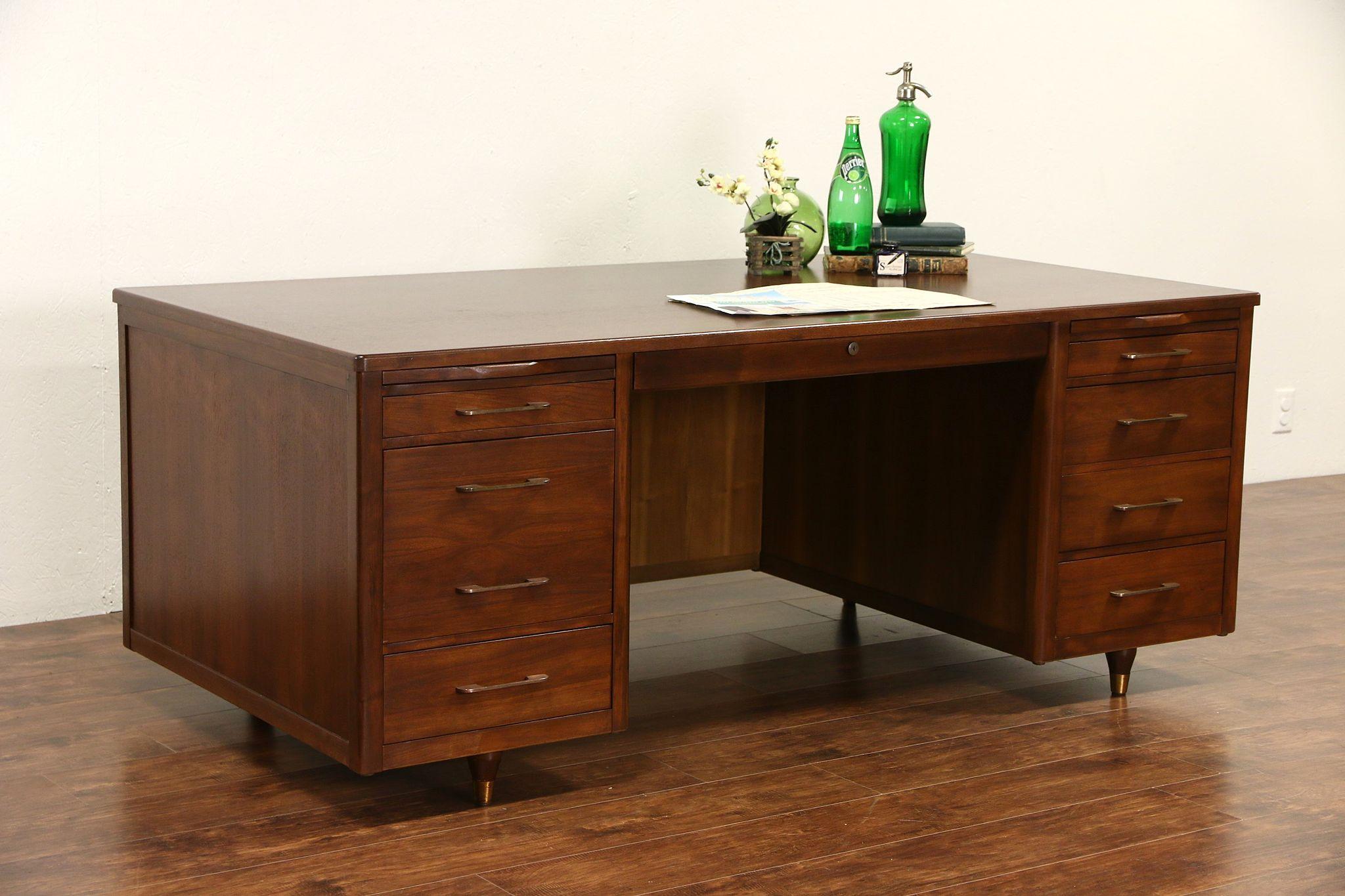 Sold Midcentury Modern 1960 Vintage Walnut Executive Desk Harp