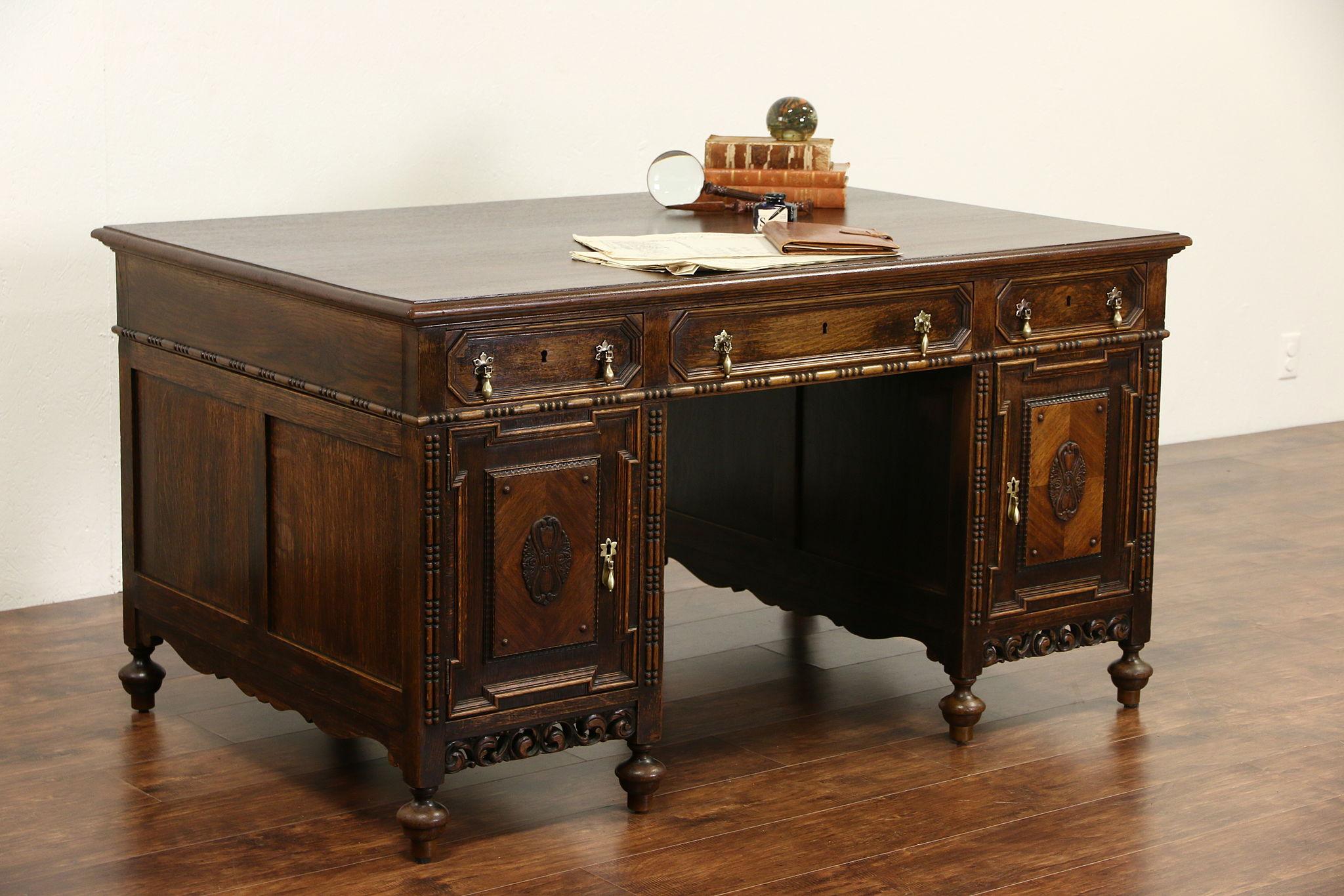 Dutch Renaissance Carved Oak 1910 Antique Library Desk