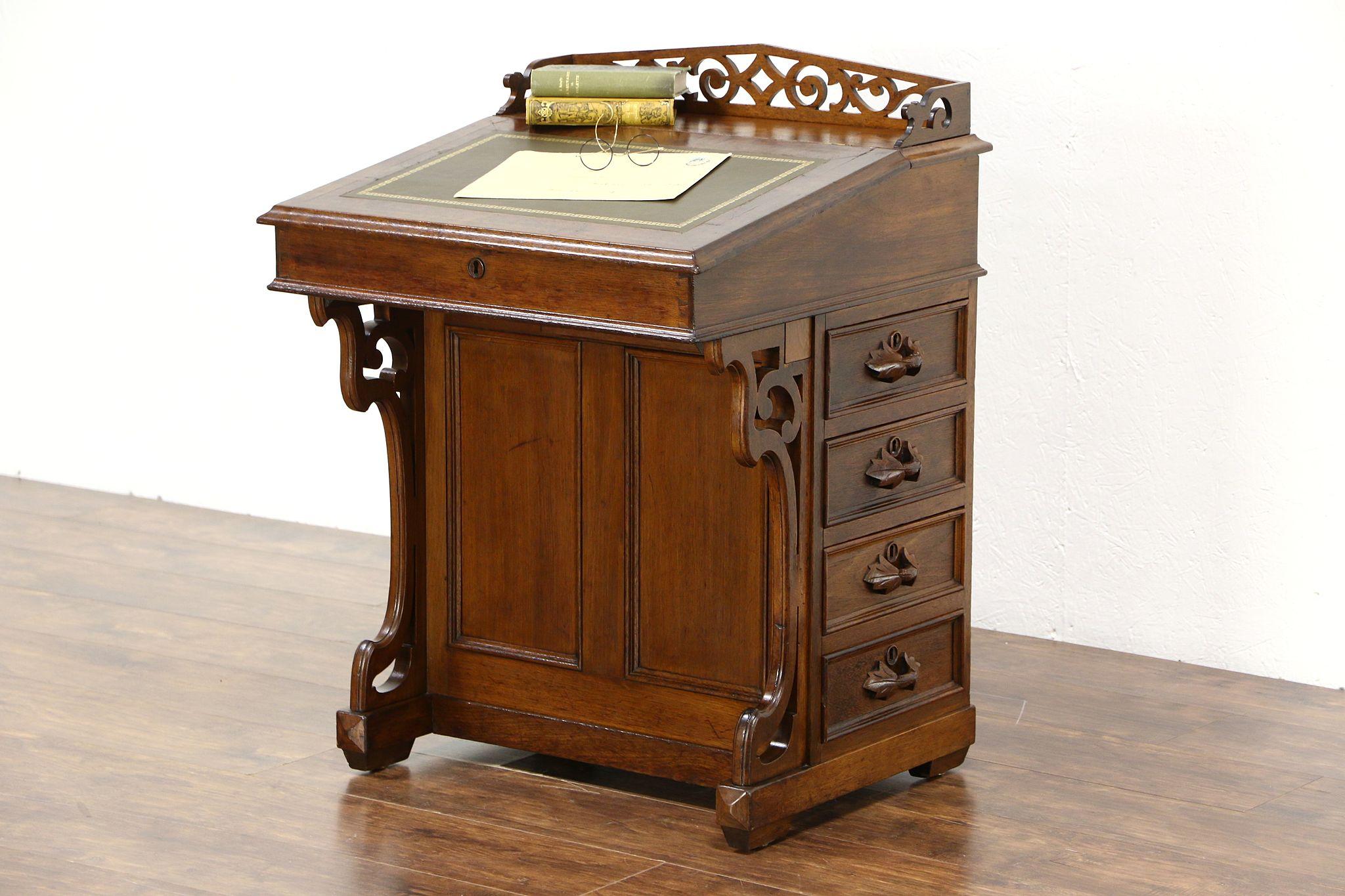 Victorian Carved 1875 Antique Walnut Davenport Or Ship Captain Secretary Desk