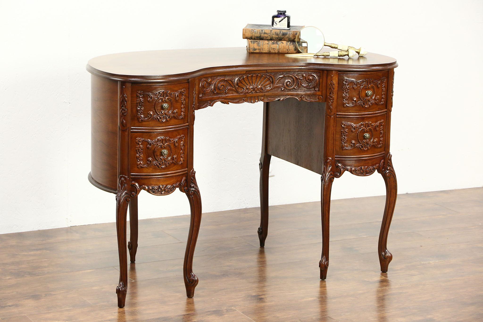 Kidney Shape 1940 Vintage Writing Desk Carved Walnut Satinwood Banding
