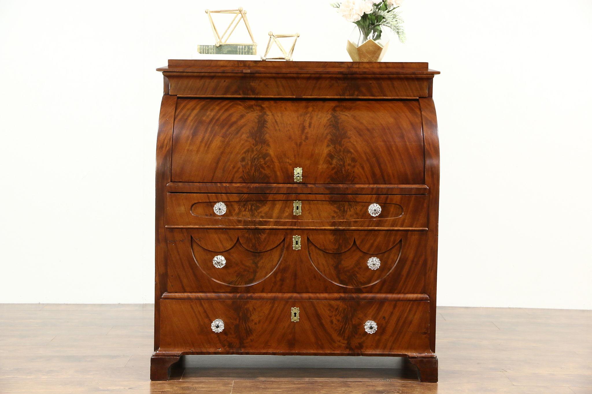 Biedermeier 1825 Antique Austrian Roll Top Secretary Desk Secret