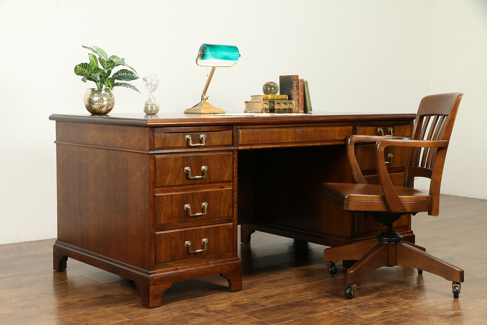 Traditional Executive Walnut Vintage Office or Library Desk, Jofco #31472