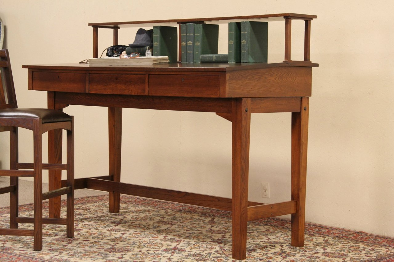 Railroad Station Stand Up 1900 Antique Craftsman Oak Desk - SOLD - Railroad Station Stand Up 1900 Antique Craftsman Oak Desk