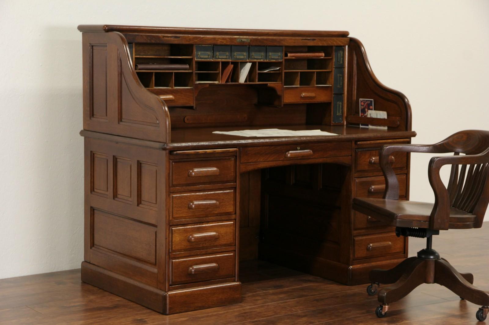 Derby Of Boston Oak Antique 1900 Rolltop Desk S Curve Raised Panels