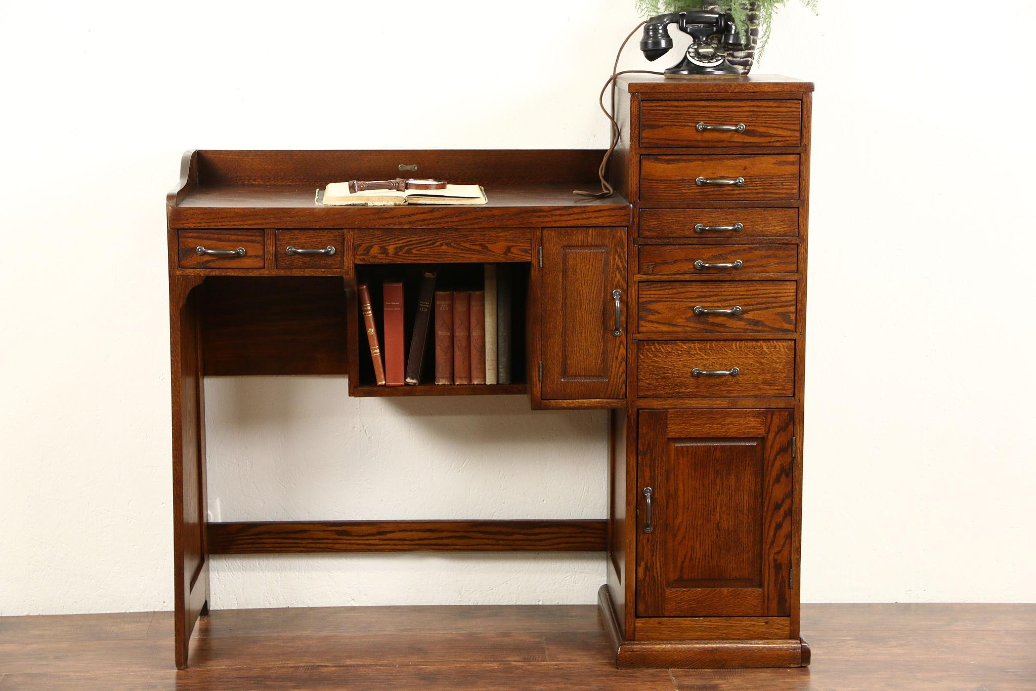 Uncategorized Antique Work Desk sold watch maker oak desk 1915 antique work bench signed ransom toledo