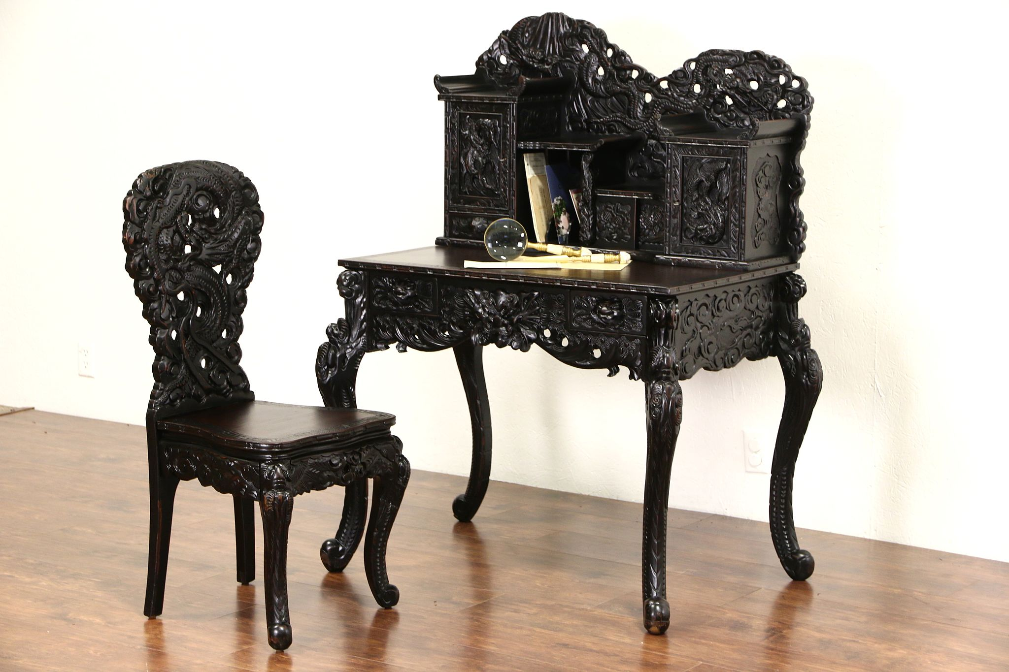 Anese 1920 S Antique Dragon Carved Secretary Desk And Chair Set