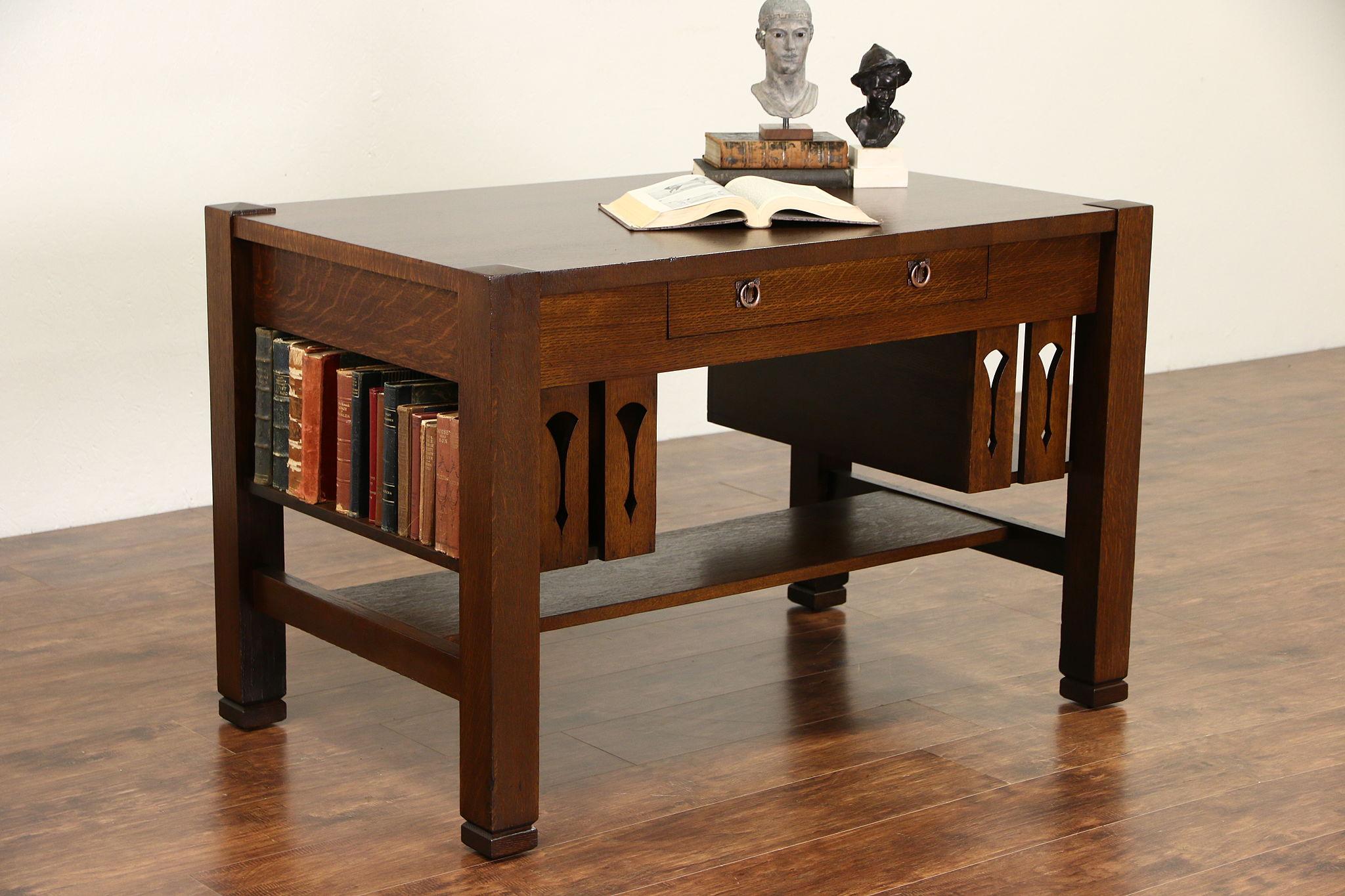 SOLD Arts & Crafts Mission Oak 1905 Antique Craftsman Library