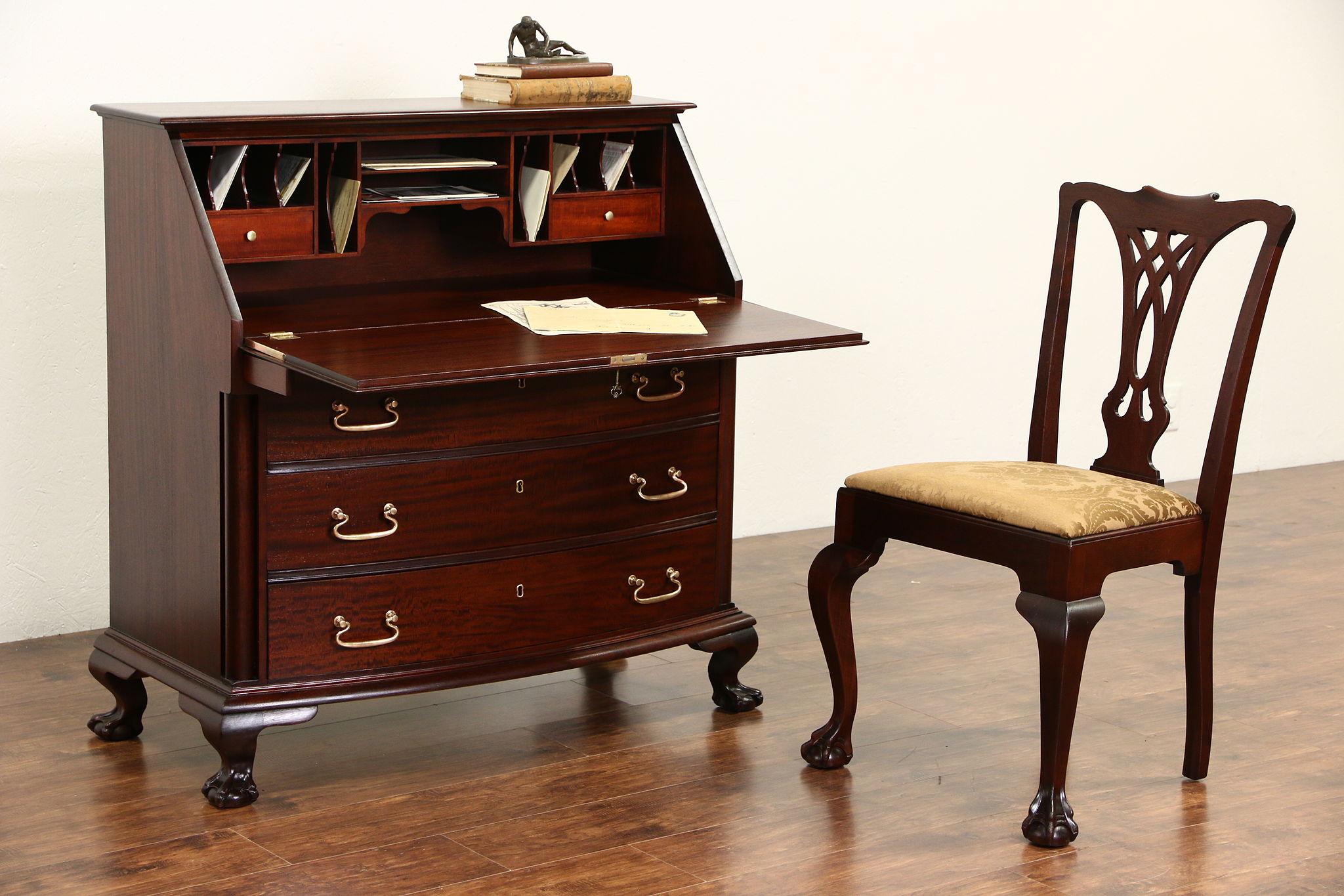 Georgian 1910 Antique Gany Secretary Desk Chair Carved Ball Claw Feet