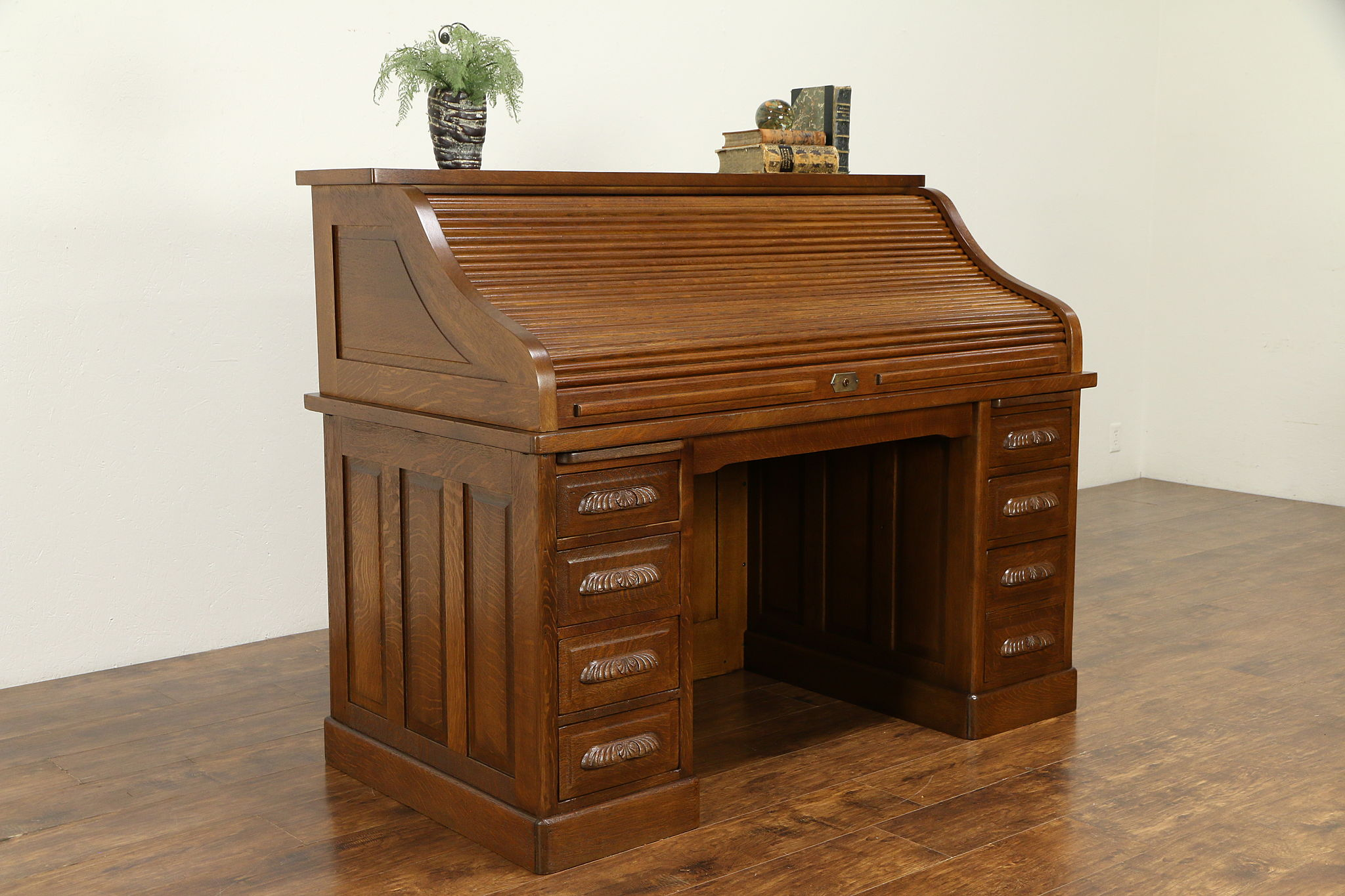 Pleasing Quartersawn Oak Antique Roll Top Library Or Office Desk Raised Panels 31763 Interior Design Ideas Clesiryabchikinfo
