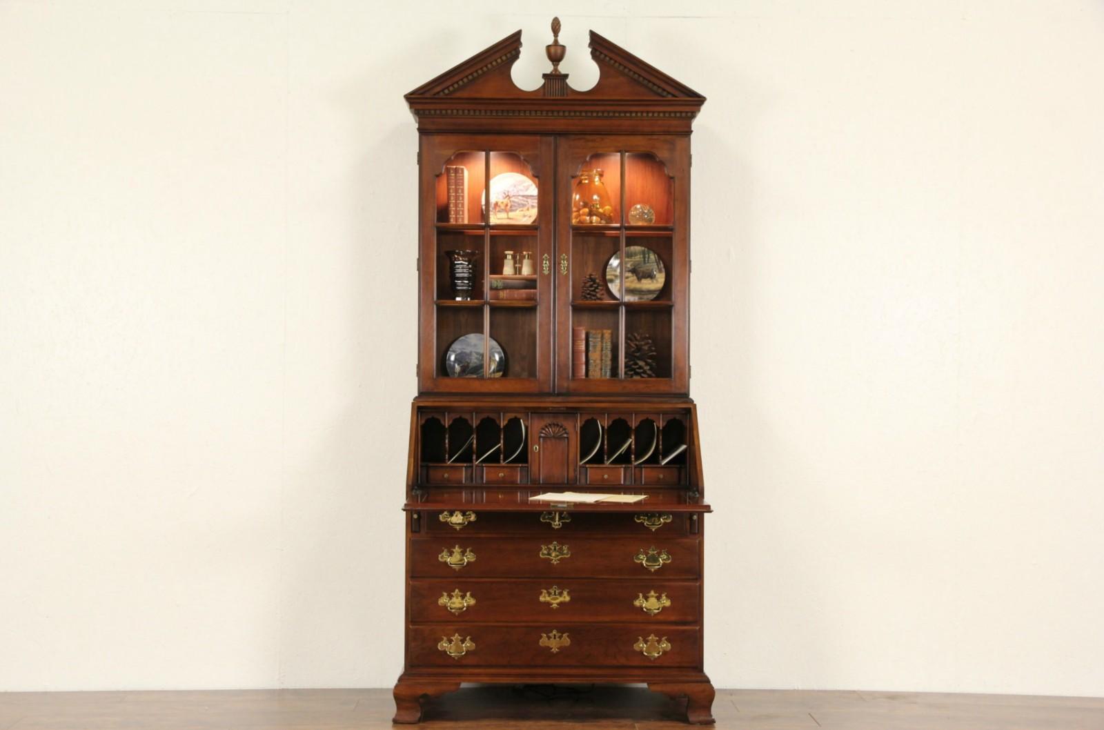 Sold Statton Signed Vintage Cherry Secretary Desk Lighted