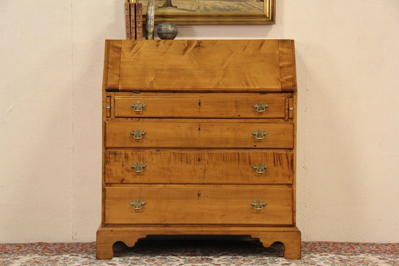 Federal 1790 Antique Curly Tiger Maple Secretary Desk