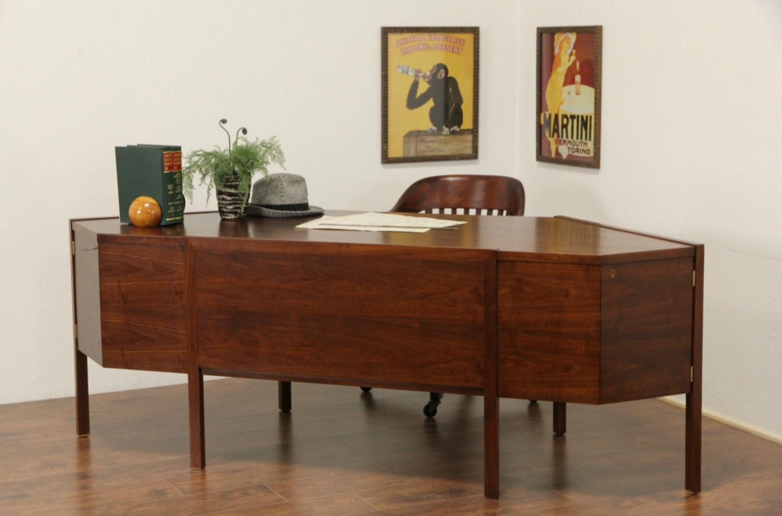 40 Vintage Midcentury Modern Dunbar Executive Walnut Desk, Fits in Corner