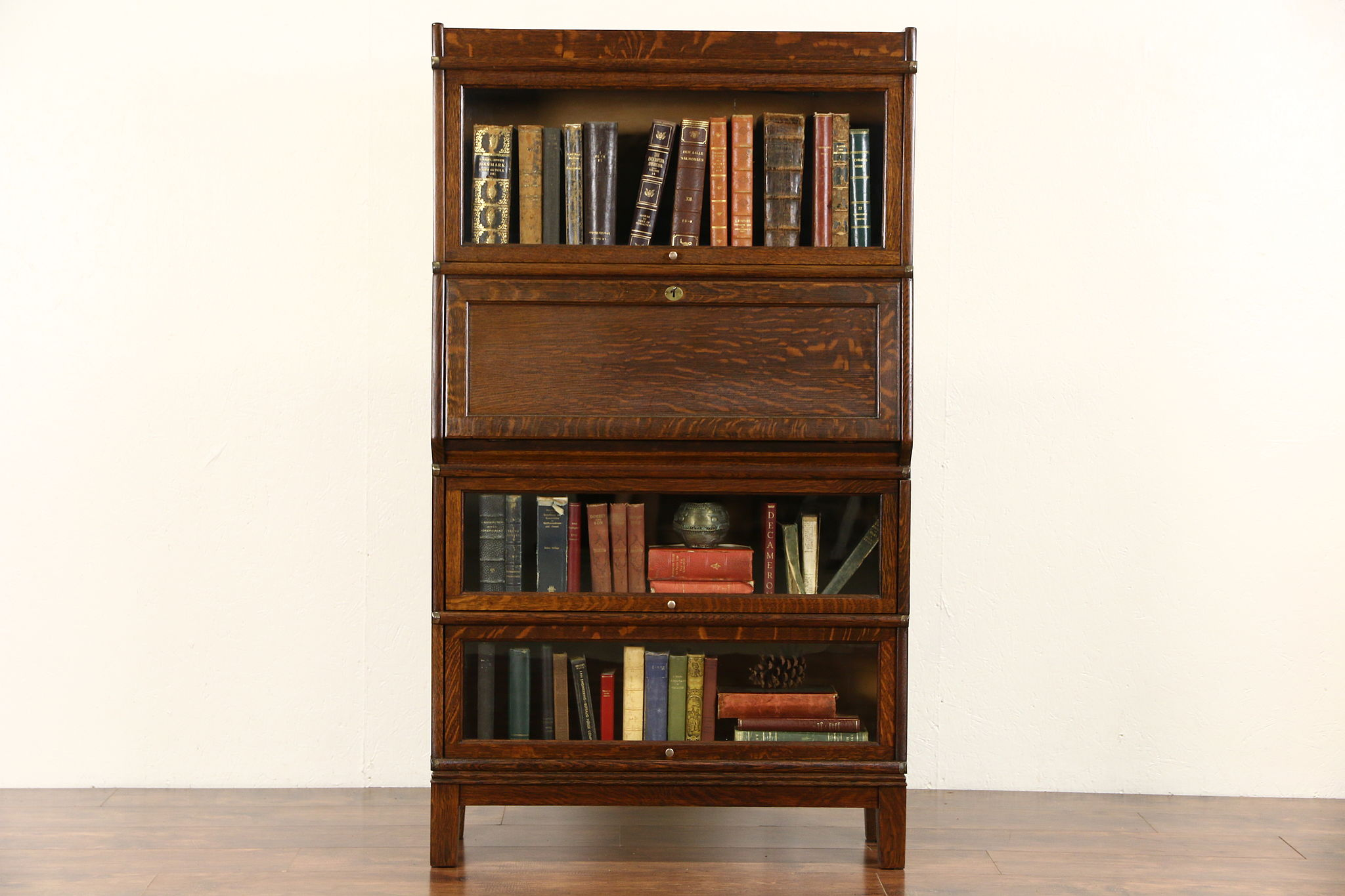 Globe Wernicke 1900 Antique Oak Stacking Lawyer Bookcase Desk
