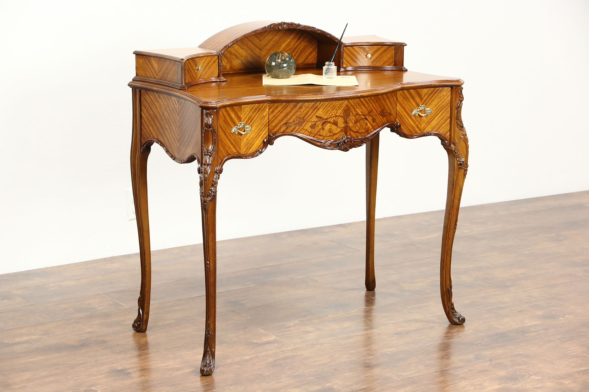 Satinwood Marquetry French Style 1930 Vintage Writing Desk