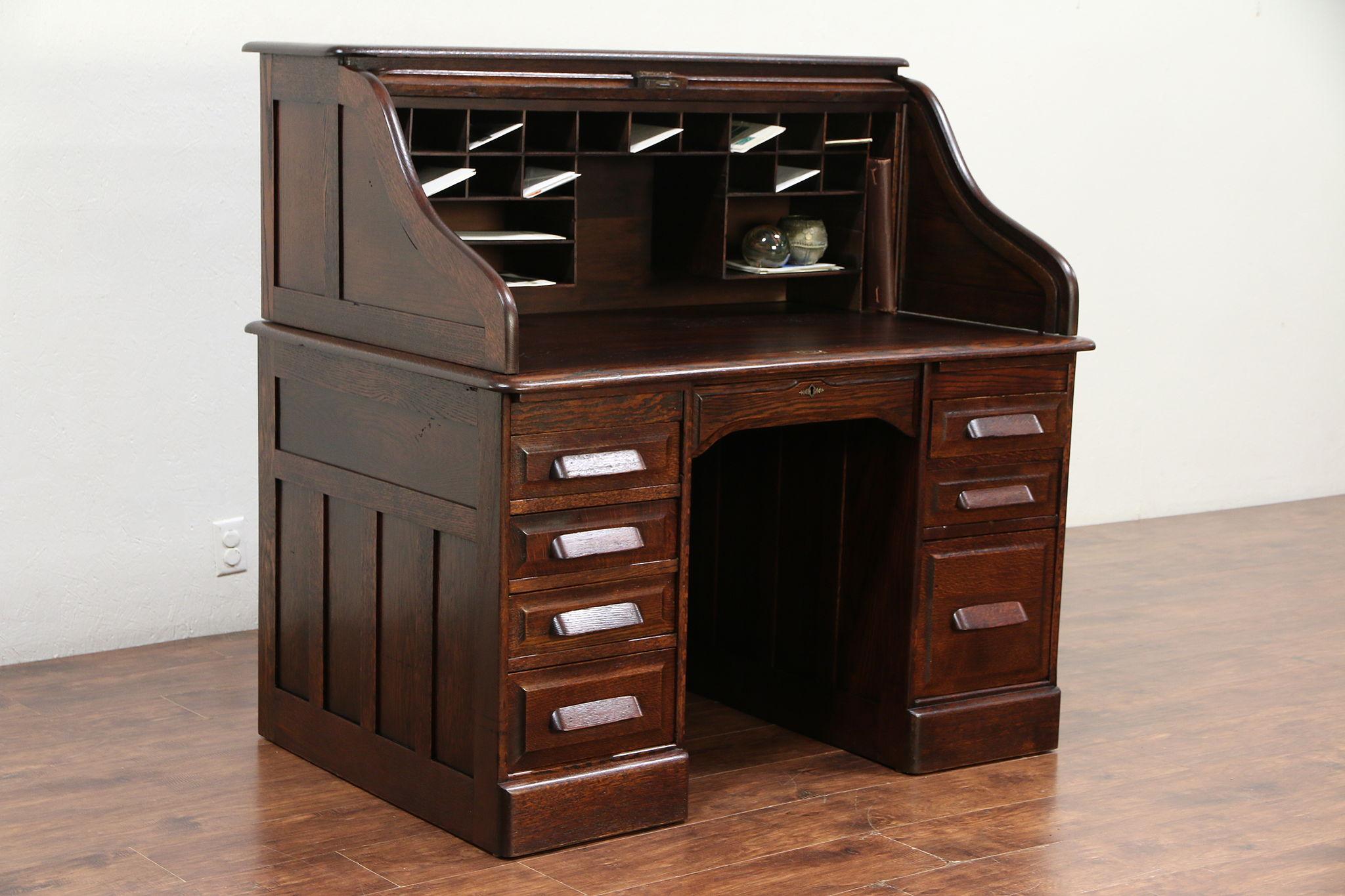 Oak Antique 1900 S Curve Roll Top Desk File Drawer 29493