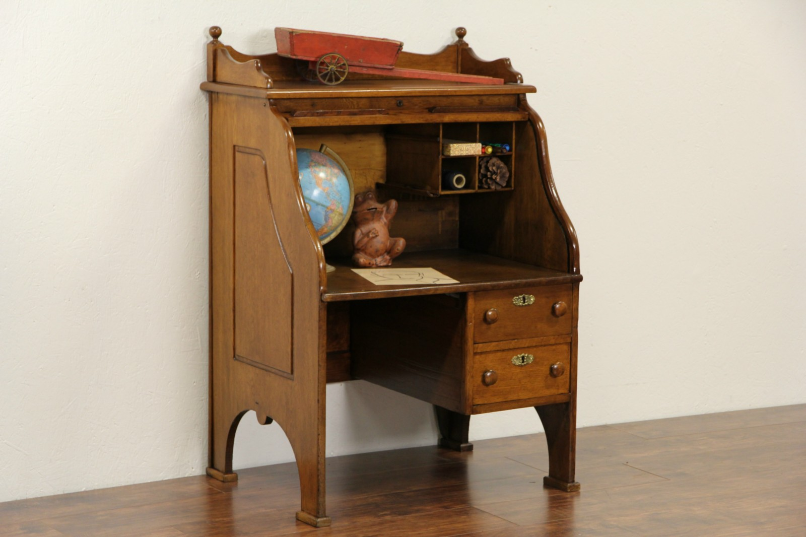 Child Size Oak S Curve Rolltop 1895 Antique Desk
