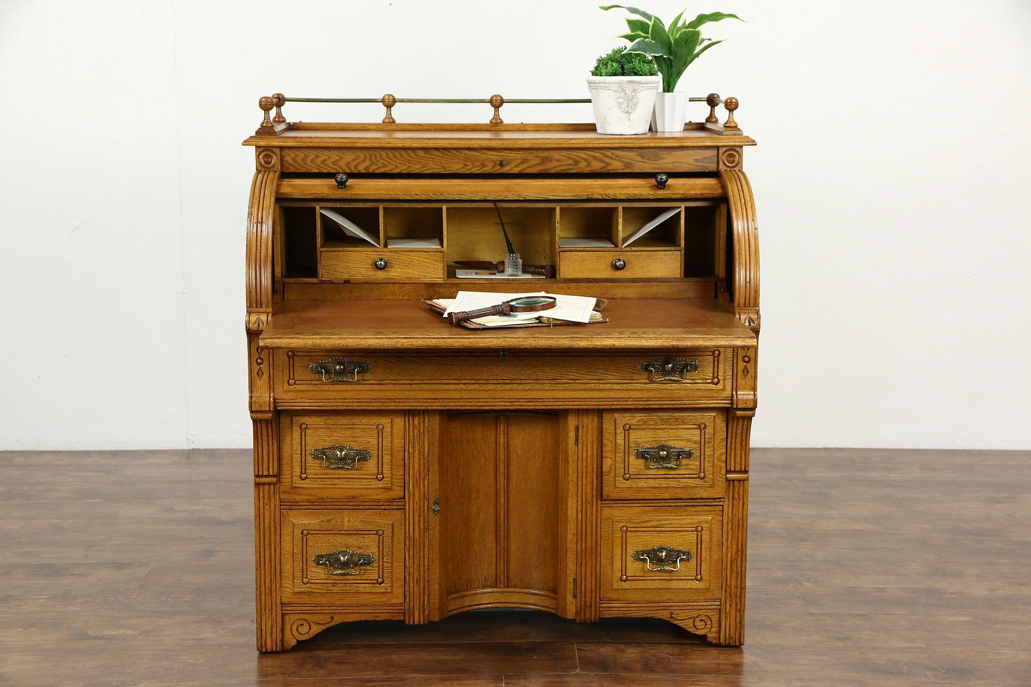 Victorian Eastlake 1885 Antique Oak Roll Top Secretary Desk Leather