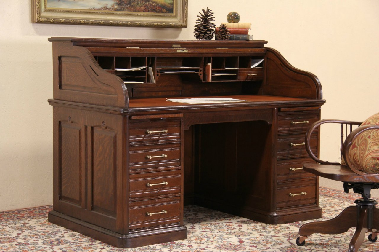 Oak Victorian Antique Roll Top Desk, Raised Panels, Leather Top, Signed  Andrews