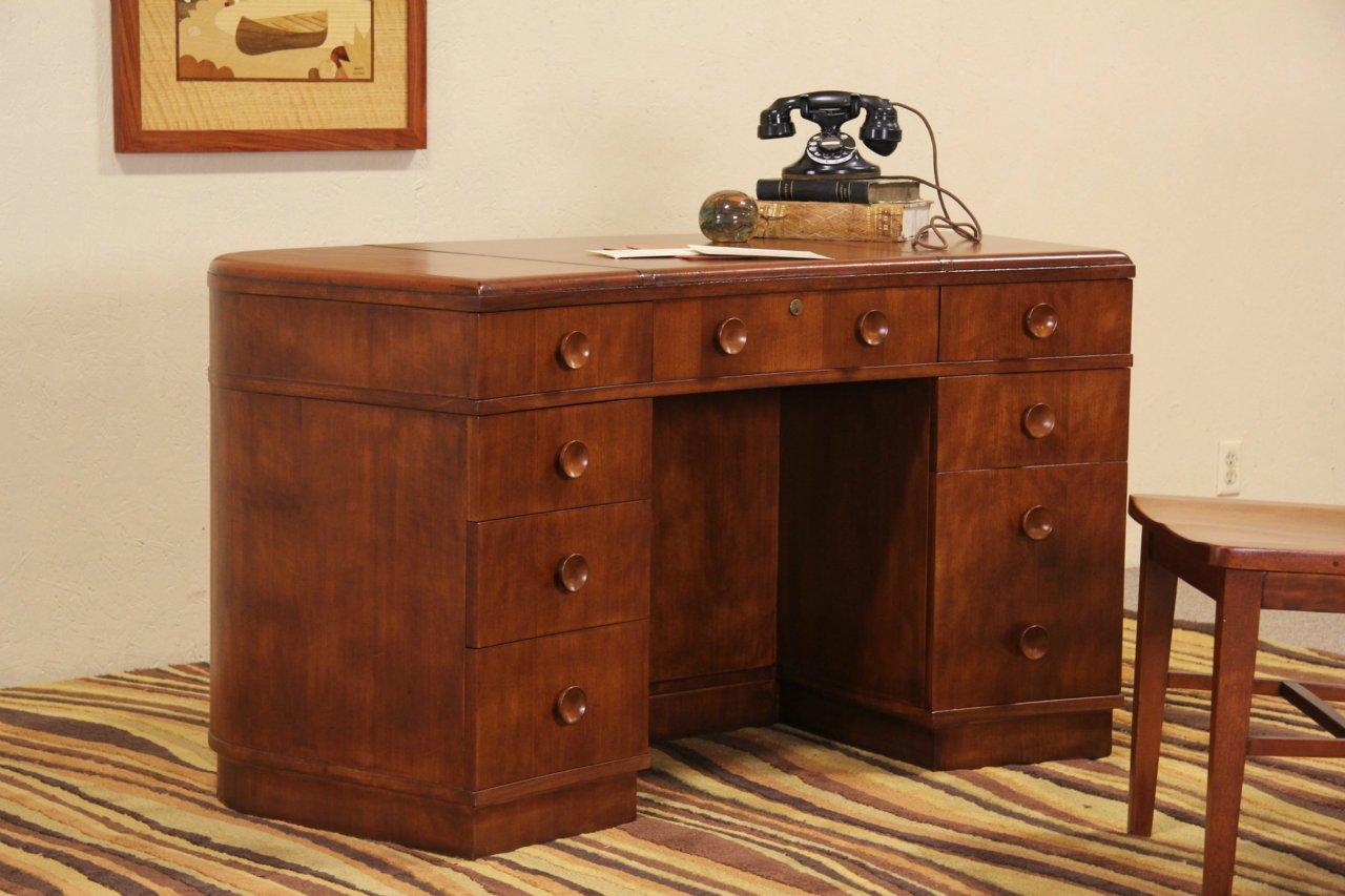 Art Deco 1940 Vintage Leather Top Desk