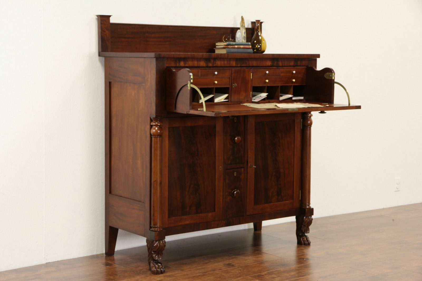 Butler Standing Desk Empire 1830 Antique Lion Paws Wine Drawers