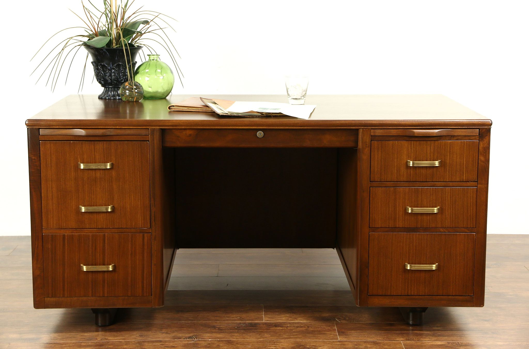 Midcentury Modern 1950 S Vintage Executive Desk Signed Leopold Chicago