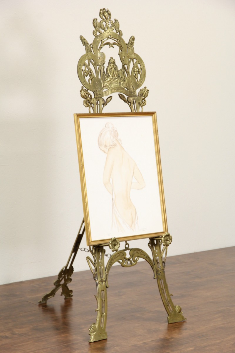 Sold Brass Art Nouveau Vintage Picture Easel Young Lady