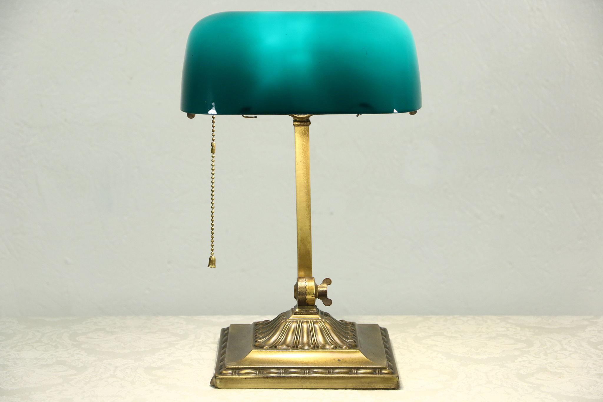 SOLD - Emeralite Emerald Green Glass 1917 Pat. Antique Brass ...